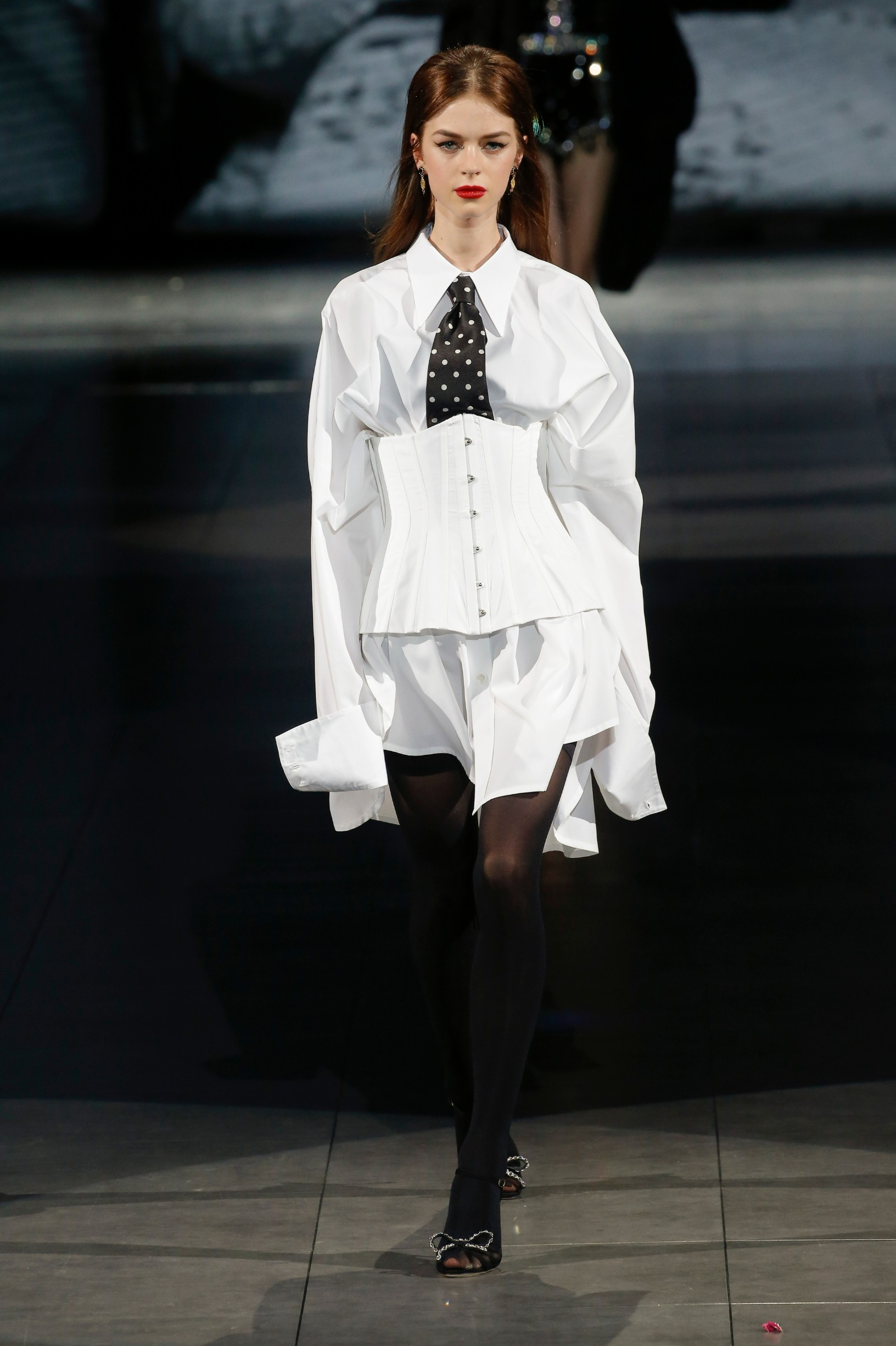 Model walks on the runway at the Dolce and Gabbana fashion show during Fall / Winter 2020 / 2021 Milan Fashion Week in Milan, Italy on Feb. 23, 2020., Image: 500555640, License: Rights-managed, Restrictions: *** World Rights ***, Model Release: no, Credit line: Jonas Gustavsson / ddp USA / Profimedia