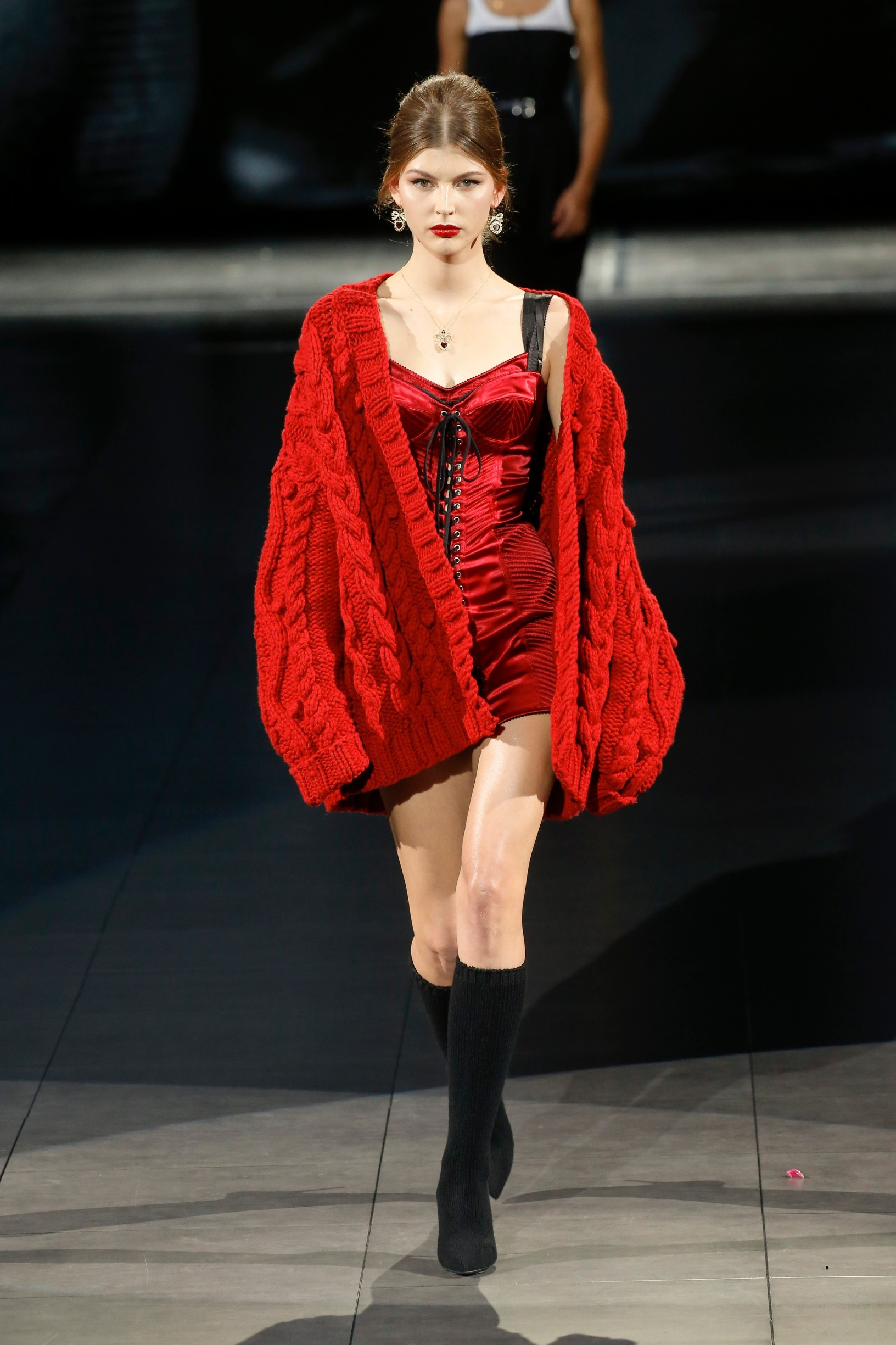 Model walks on the runway at the Dolce and Gabbana fashion show during Fall / Winter 2020 / 2021 Milan Fashion Week in Milan, Italy on Feb. 23, 2020., Image: 500556580, License: Rights-managed, Restrictions: *** World Rights ***, Model Release: no, Credit line: Jonas Gustavsson / ddp USA / Profimedia