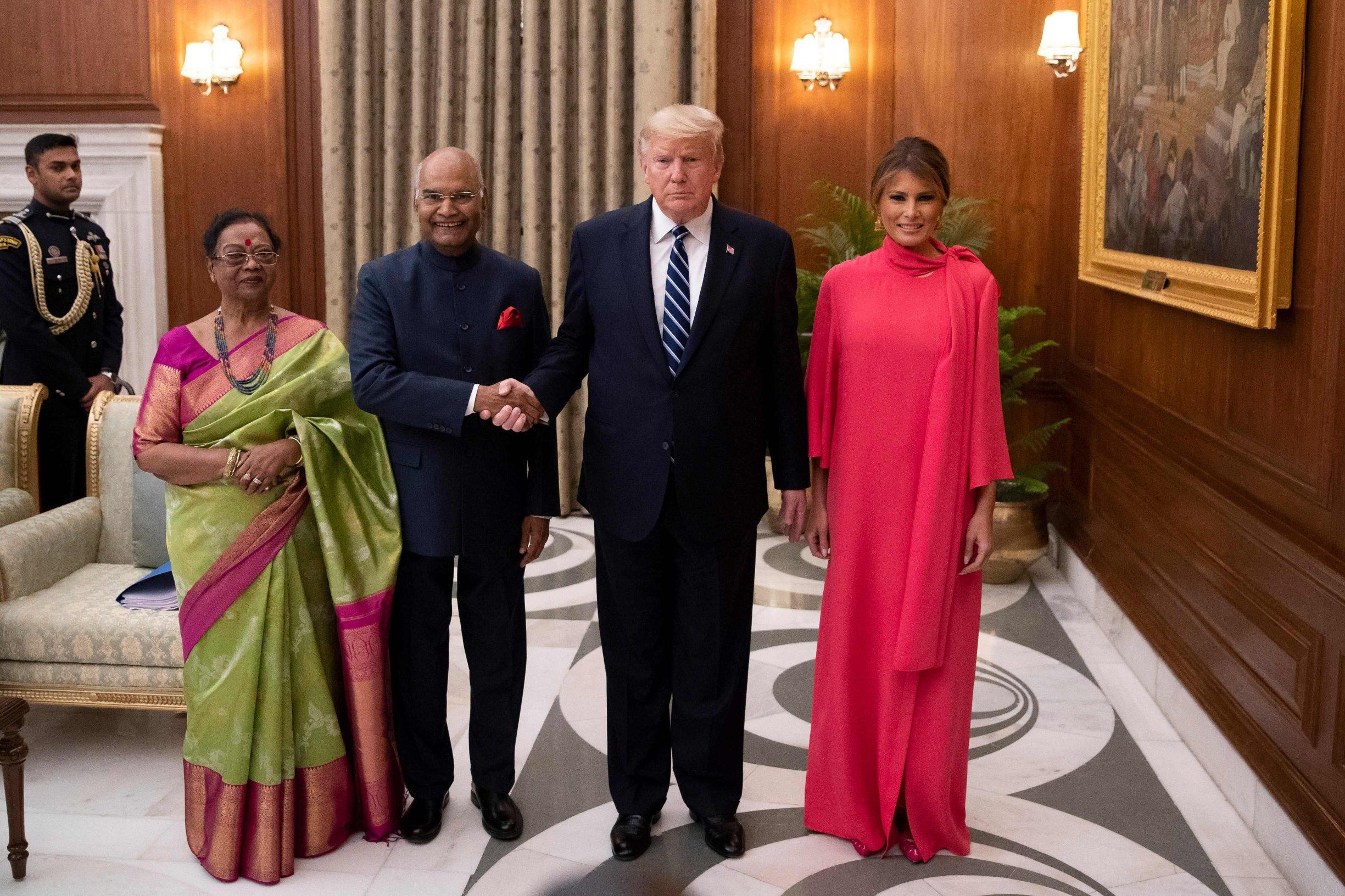 Donald Trump i indijski predsjednik Ram Nath Kovind sa suprugama