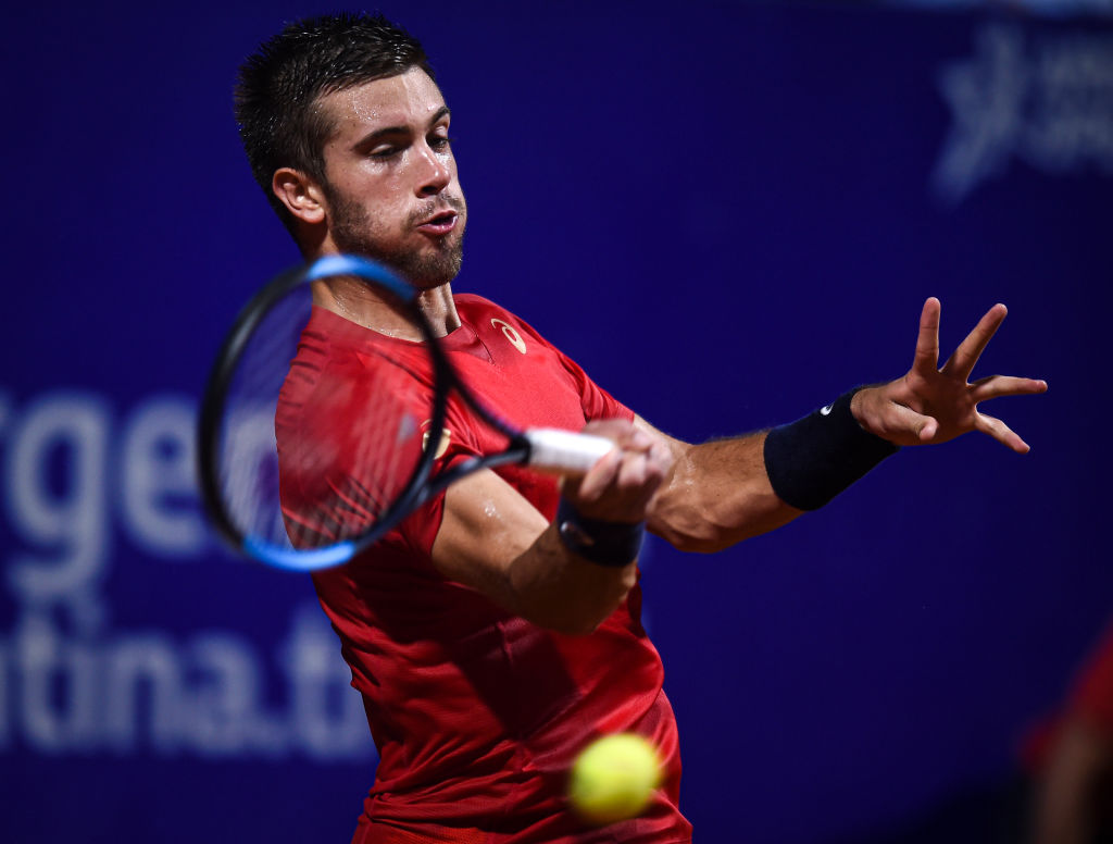 BUENOS AIRES, ARGENTINA - FEBRUARY 12: Borna Coric of Croatia hits a forehand during his Men's Singles match against Thiago Monteiro of Brazil during day 3 of ATP Buenos Aires Argentina Open at Buenos Aires Lawn Tennis Club on February 12, 2020 in Buenos Aires, Argentina. (Photo by Marcelo Endelli/Getty Images)