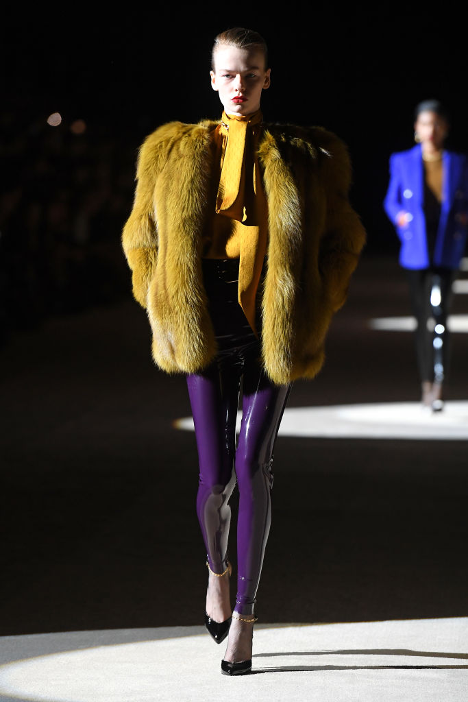 PARIS, FRANCE - FEBRUARY 25: (EDITORIAL USE ONLY) A model walks the runway during the Saint Laurent show as part of the Paris Fashion Week Womenswear Fall/Winter 2020/2021 on February 25, 2020 in Paris, France. (Photo by Pascal Le Segretain/Getty Images)