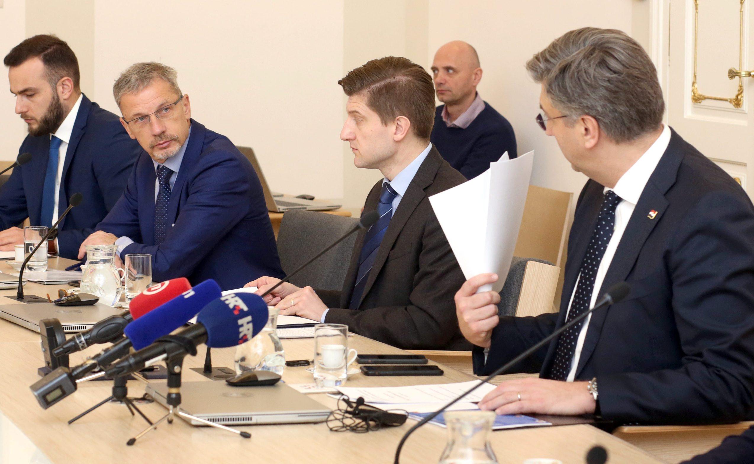Guverner Hrvatske narodne banke Boris Vujčić, ministar financija  Zdravko Marić i premijer Andrej Plenković