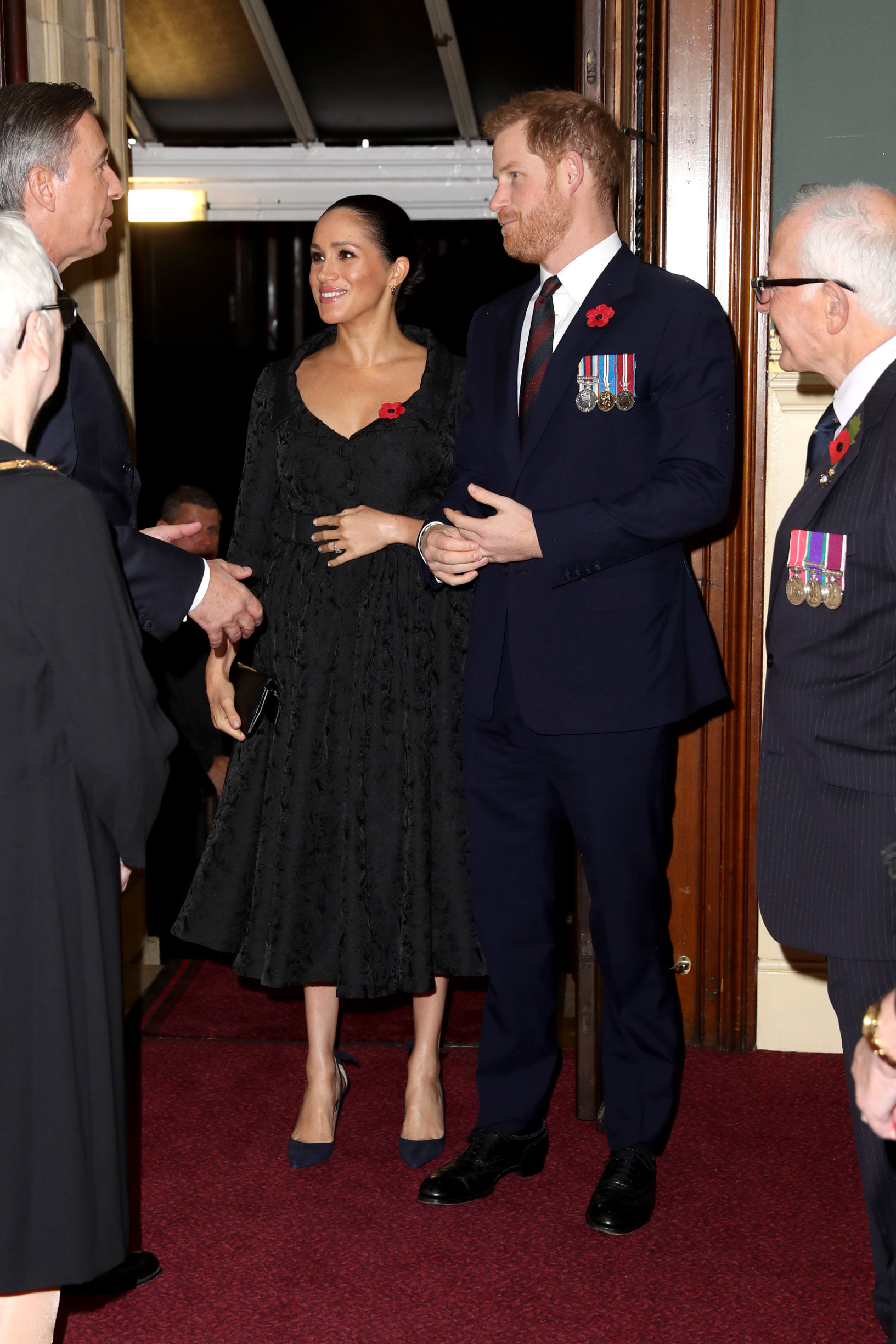 LONDON, ENGLAND - NOVEMBER 09: Meghan, Duchess of Sussex and Prince Harry, Duke of Sussex attend the annual Royal British Legion Festival of Remembrance at the Royal Albert Hall on November 09, 2019 in London, England. (Photo by Chris Jackson/- WPA Pool/Getty Images)