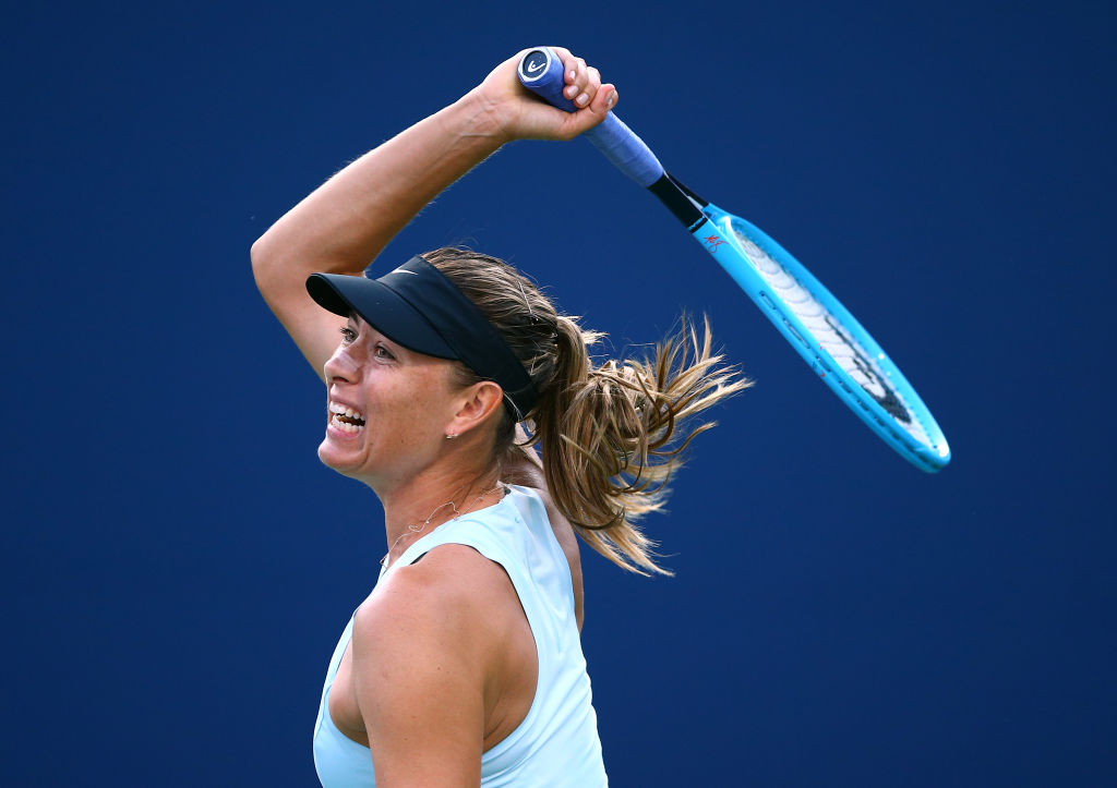 TORONTO, ON - AUGUST 05:  Maria Sharapova of Russia hits a shot against Anett Kontaveit of Estonia during a first round match on Day 3 of the Rogers Cup at Aviva Centre on August 05, 2019 in Toronto, Canada.  (Photo by Vaughn Ridley/Getty Images)