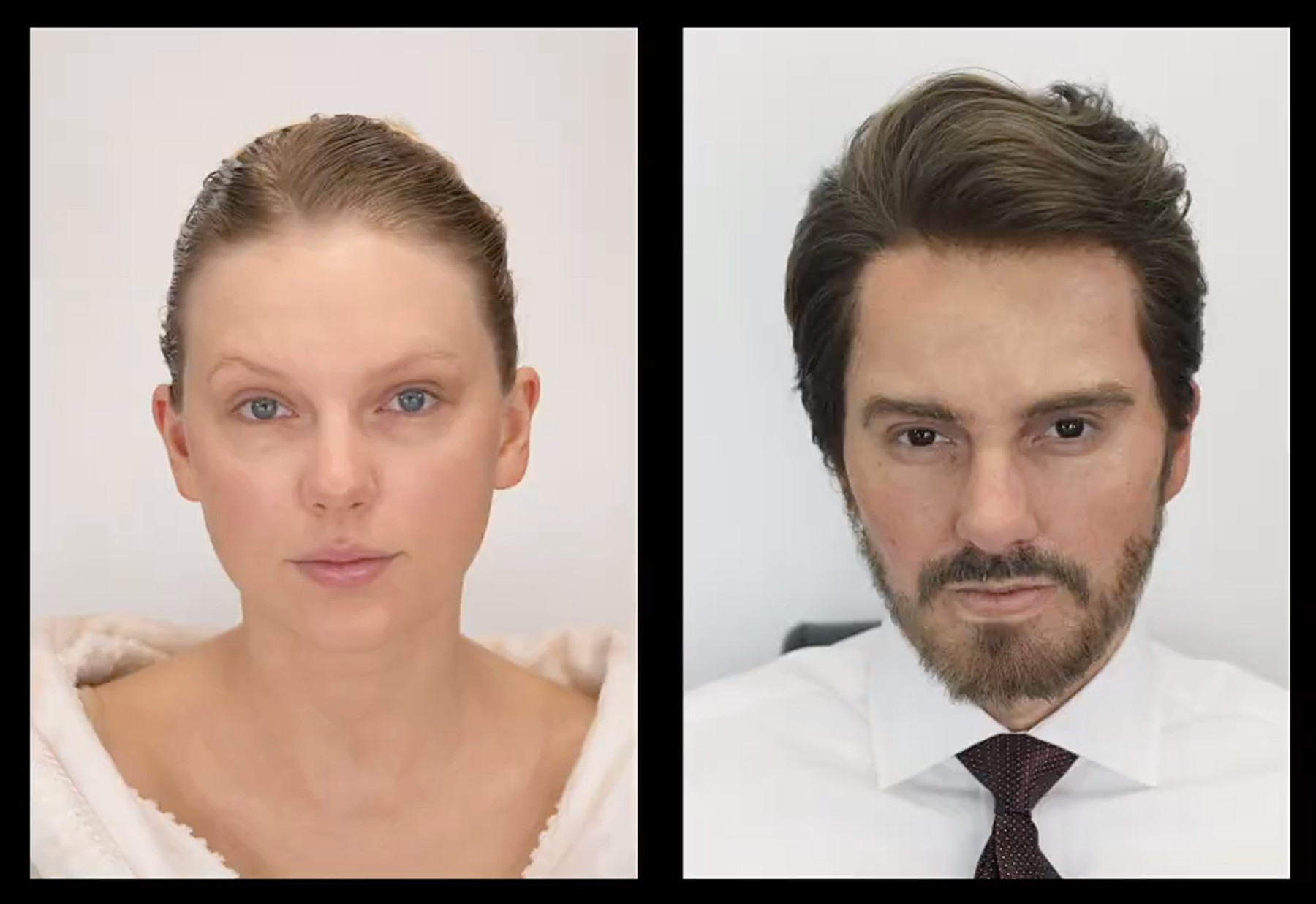 Ferrari Press Agency The Man   1  Ref 11457 27/02/20 See Ferrari text Picture must credit: Taylor Swift/YouTube  Pop queen Taylor Swift transforms into a bearded man for her latest  video which takes aim at Leonardo DiCaprio's sexist role in movie Wolf of Wall Street.But the shock reveal only happens at the end of the four minute promo as the credits roll accompanies by images of Swift's gradual transformation –including brown colours contact lenses.She also shows support for multi-Grand Slam winning tennis legend Serena Williams to highlight sexism in all aspects of life.Swift . 30, wrote the script and makes her solo directorial debut with the promo for the  feminist empowerment track, The Man.She ditches her signature blonde locks and bold red lipstick in favour of facial prosthetics including new nose.She also sports a brown wig, s she portrays the many scenarios in which men are rewarded more than women who do the same.The video starts with Swift playing fiery male boss who shouts orders to his colleagues, but still manages to receive praise.   OPS: Clip from Taylor Swift's music video The Man with her playing the title chracater. The reveal only comes at the end of the promo which she wrote and directed.The end credits reveal the make-over  Picture supplied by Ferrari, Image: 501464636, License: Rights-managed, Restrictions: , Model Release: no, Credit line: Taylor Swift/YouTube / Ferrari / Profimedia