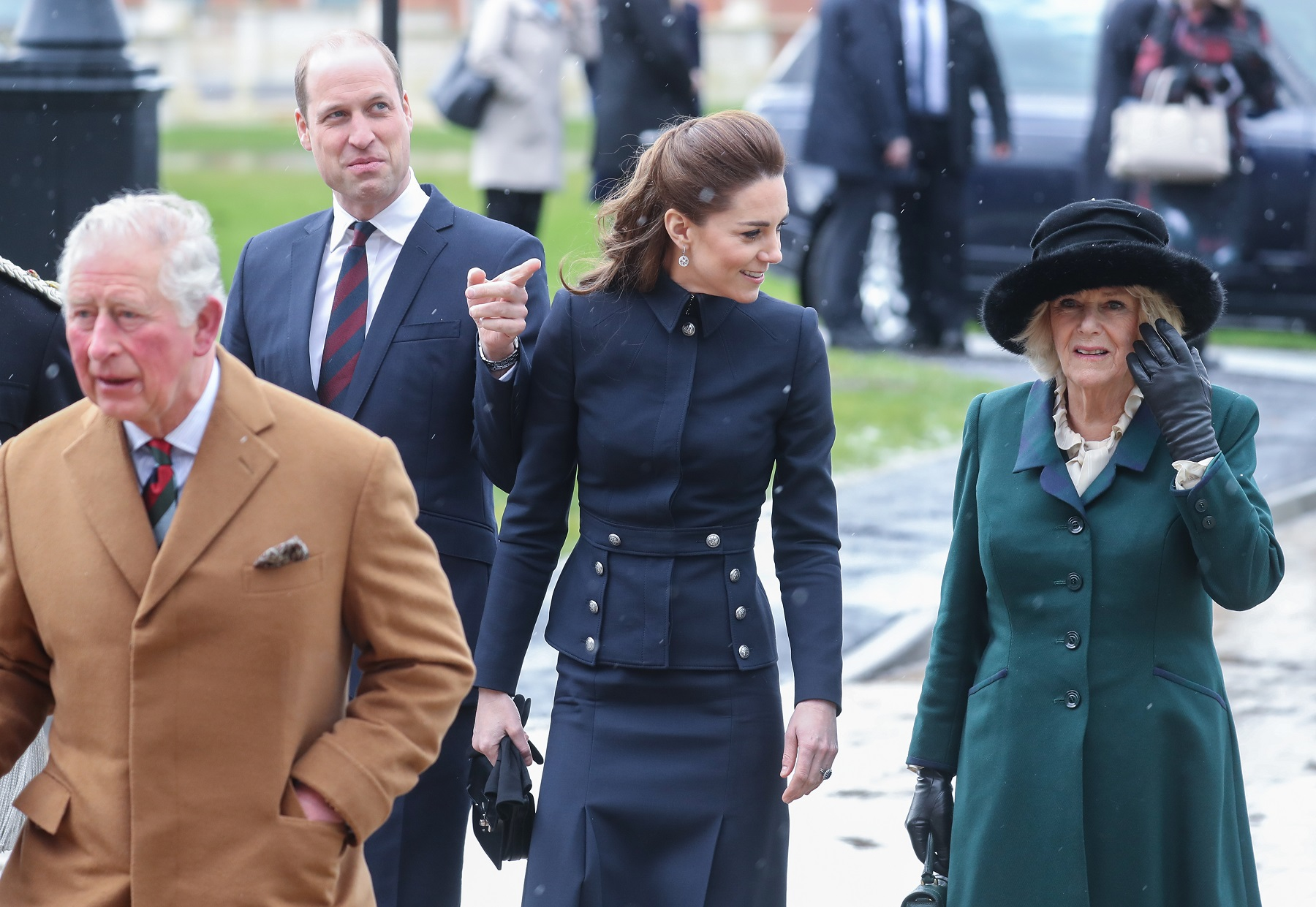 LOUGHBOROUGH, UNITED KINGDOM - FEBRUARY 11: Prince William, Duke of Cambridge, Prince Charles, Prince of Wales, Catherine, Duchess of Cambridge and Camilla, Duchess of Cornwall arrive at the Defence Medical Rehabilitation Centre, Stanford Hall on February 11, 2020 in Loughborough, United Kingdom. Known as 'DMRC Stanford Hall', the centre is operated by the MOD and began admitting patients in October 2018. They deliver in-patient and residential rehabilitation to serving members of the Armed Forces. (Photo by Chris Jackson/Getty Images)