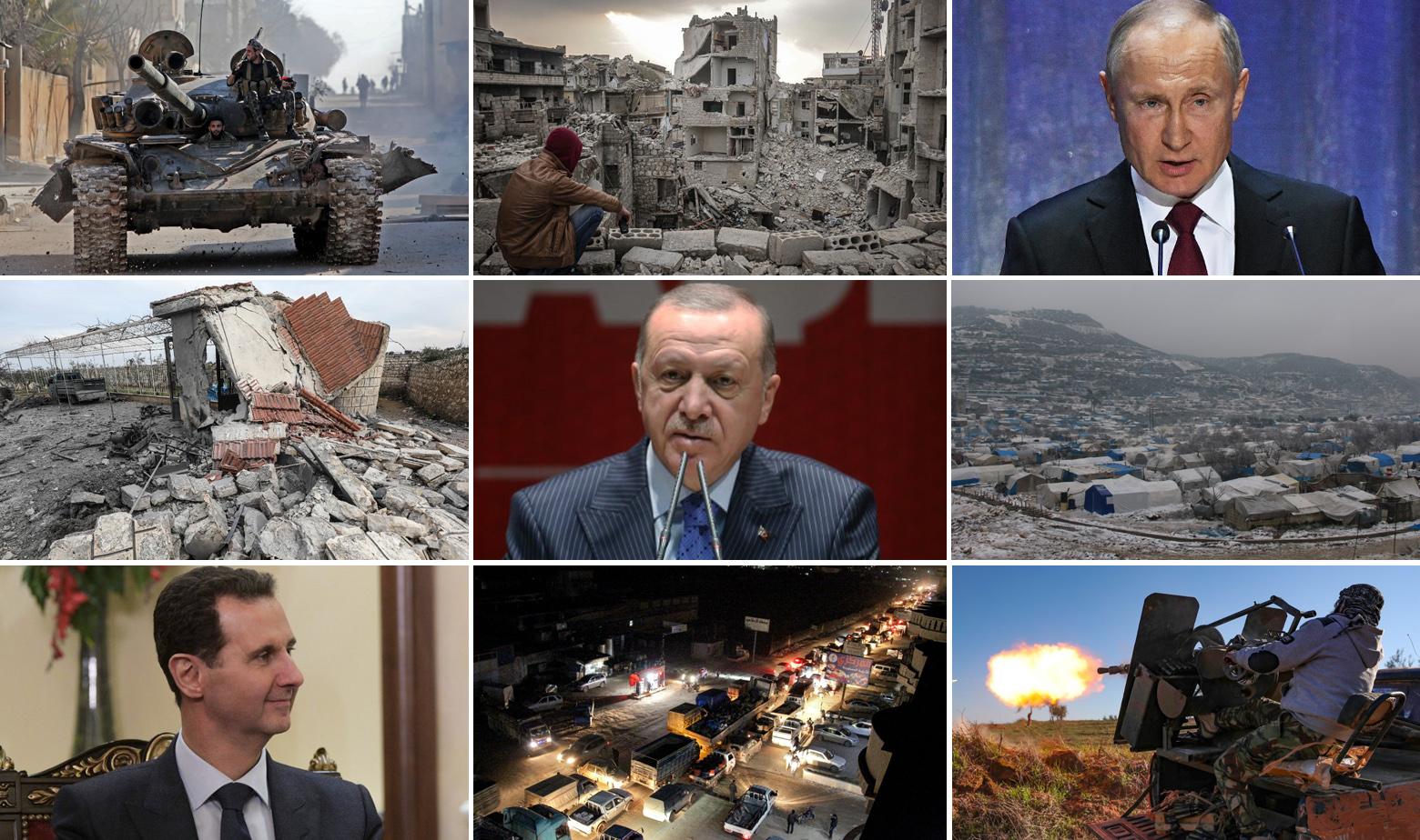 Bašar al-Asad, Recep Tayyip Erdogan, Vladimir Putin i prizori iz provincije Idlib (Sirija)