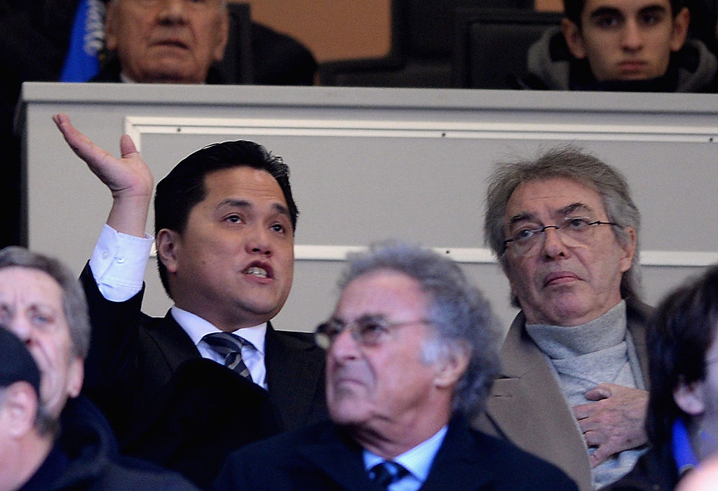 MILAN, ITALY - JANUARY 26:  New President of FC Internazionale Milano Erick Thohir and Massimo Moratti during the Serie A match between FC Internazionale Milano and Calcio Catania at San Siro Stadium on January 26, 2014 in Milan, Italy.  (Photo by Claudio Villa/Getty Images)