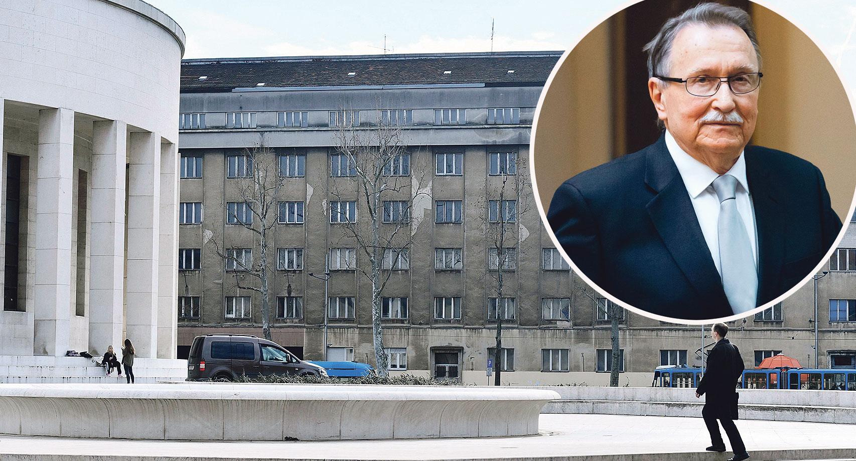 Velimir Neidhardt (u krugu) i zgrada u kojoj je bio studentski dom 'Ivan Meštrović'