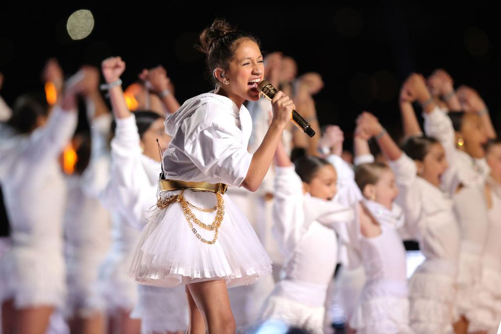 MIAMI, FLORIDA - FEBRUARY 02: Singer Jennifer Lopez's daughter Emme Maribel Muñiz performs during the Pepsi Super Bowl LIV Halftime Show at Hard Rock Stadium on February 02, 2020 in Miami, Florida. (Photo by Tom Pennington/Getty Images)