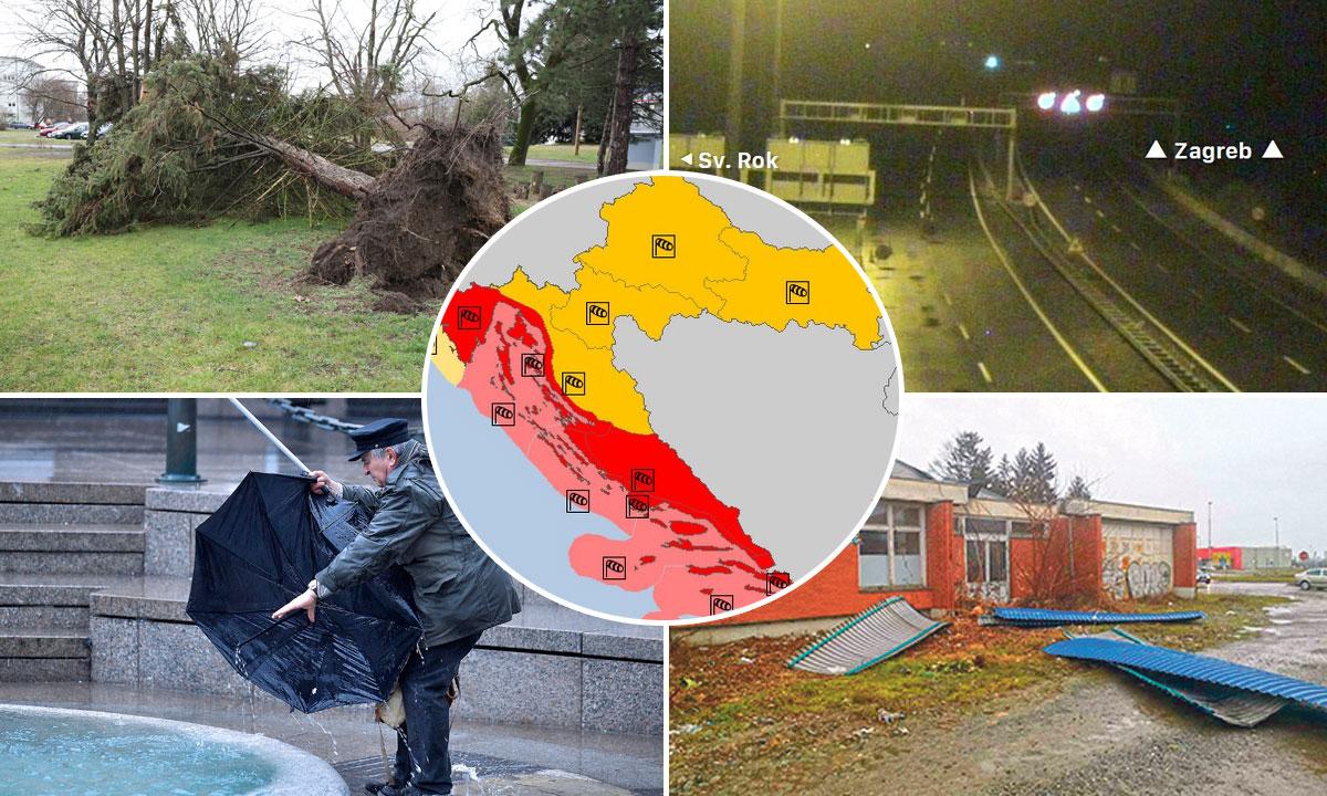 srušeno stablo u Čakovcu (gore lijevo), zatvorena autocesta A1 (gore desno), kiša u Zagrebu (dolje lijevo), srušen krov Autobusnog kolodvora u Našicama (dolje desno), upozorenja Meteoalarma (u krugu)