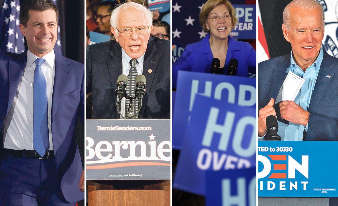 Pete Buttigieg, Bernie Sanders, Elizabeth Warren i Joe Biden