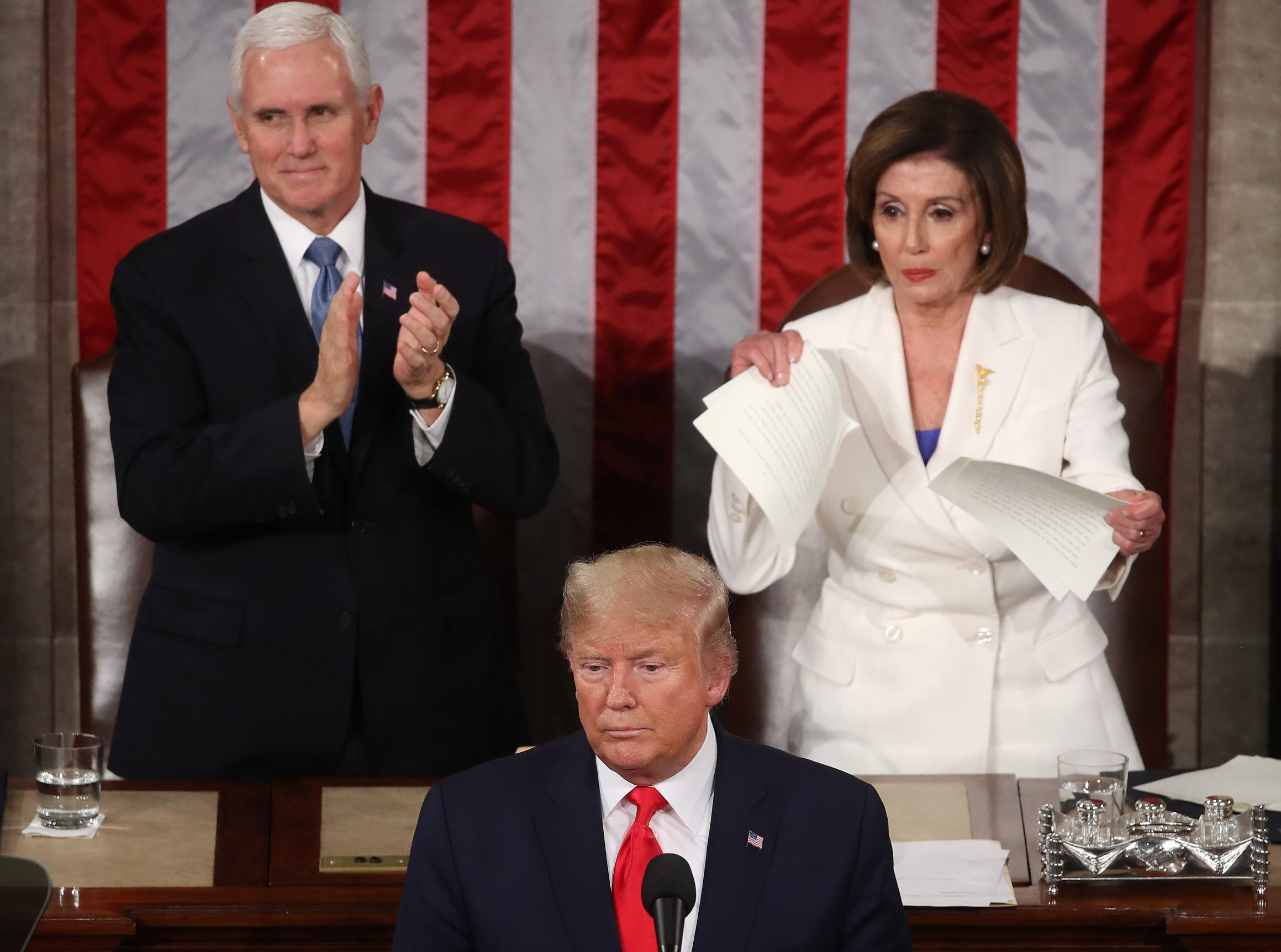 WASHINGTON, DC - FEBRUARY 04: House Speaker Rep. Nancy Pelosi (D-CA) rips up pages of the State of the Union speech after U.S. President Donald Trump finishes his State of the Union speech in the chamber of the U.S. House of Representatives on February 04, 2020 in Washington, DC. President Trump delivers his third State of the Union to the nation the night before the U.S. Senate is set to vote in his impeachment trial.   Mark Wilson/Getty Images/AFP == FOR NEWSPAPERS, INTERNET, TELCOS & TELEVISION USE ONLY ==
