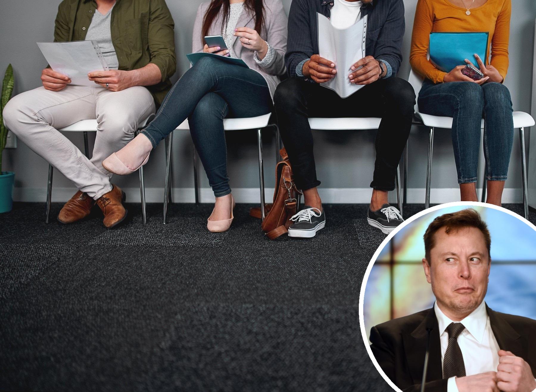 Ilustracija razgovora za posao i Elon Musk u krugu