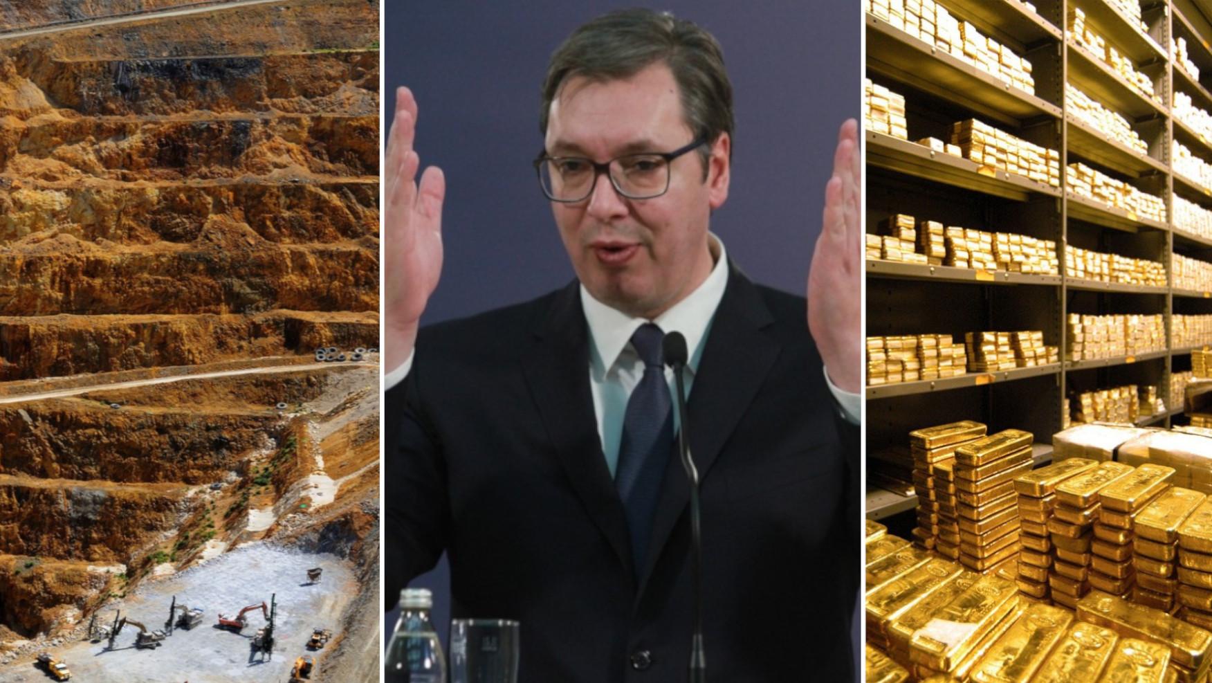 Ilustracija rudnika zlata, Aleksandar Vučić, ilustracija trezora punog zlata