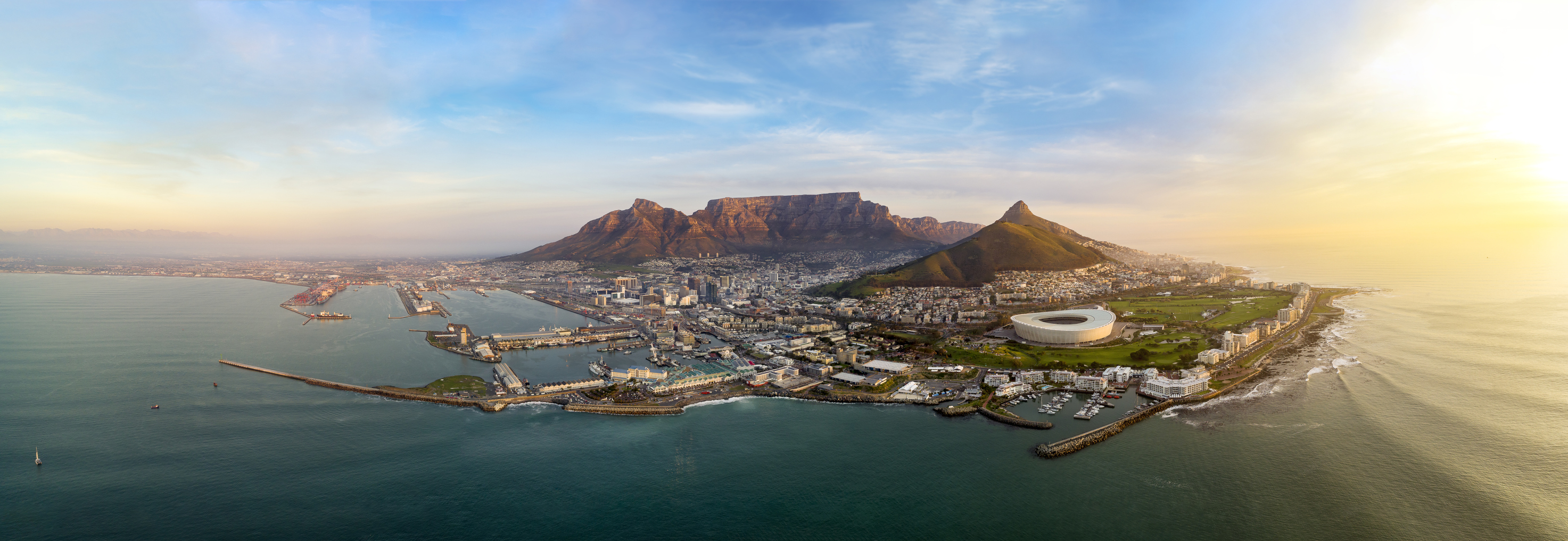 Super high resolution establishing aerial photograph of the city of Cape Town during sunset