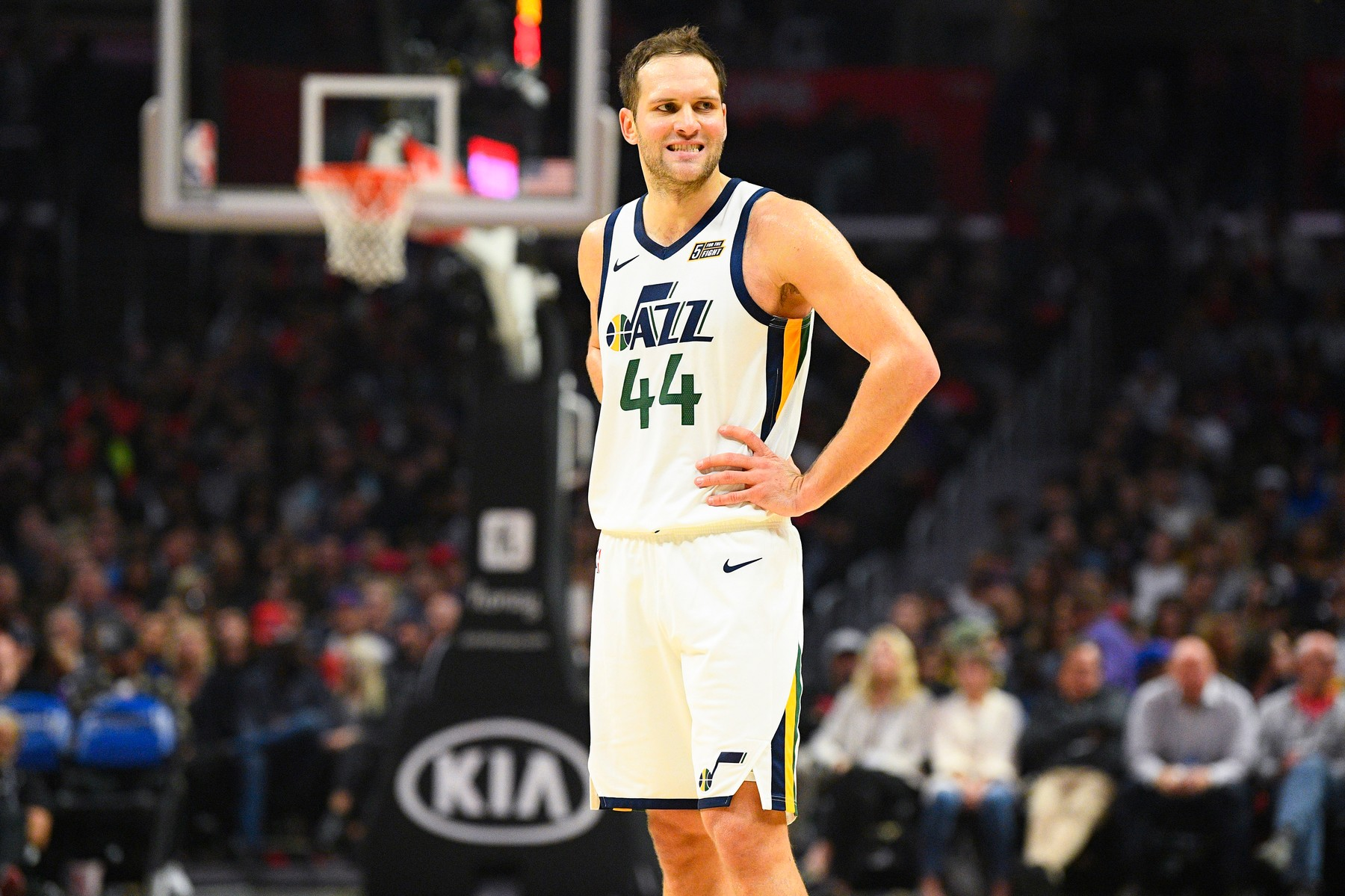LOS ANGELES, CA - NOVEMBER 03: Utah Jazz Forward Bojan Bogdanovic (44) looks on during a NBA game between the Utah Jazz and the Los Angeles Clippers on November 3, 2019 at STAPLES Center in Los Angeles, CA., Image: 480942278, License: Rights-managed, Restrictions: FOR EDITORIAL USE ONLY. Icon Sportswire (A Division of XML Team Solutions) reserves the right to pursue unauthorized users of this image. If you violate our intellectual property you may be liable for: actual damages, loss of income, and profits you derive from the use of this image, and, where appropriate, the costs of collection and/or statutory damages up to 0,000 (USD)., Model Release: no, Credit line: Brian Rothmuller/Icon Sportswire / Newscom / Profimedia