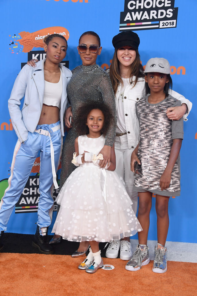 INGLEWOOD, CA - MARCH 24:  (L-R) Phoenix Chi Gulzar, Mel B, Madison Brown Belafonte, Giselle Belafonte, and Angel Iris Murphy Brown attends Nickelodeon's 2018 Kids' Choice Awards at The Forum on March 24, 2018 in Inglewood, California.  (Photo by Frazer Harrison/Getty Images)
