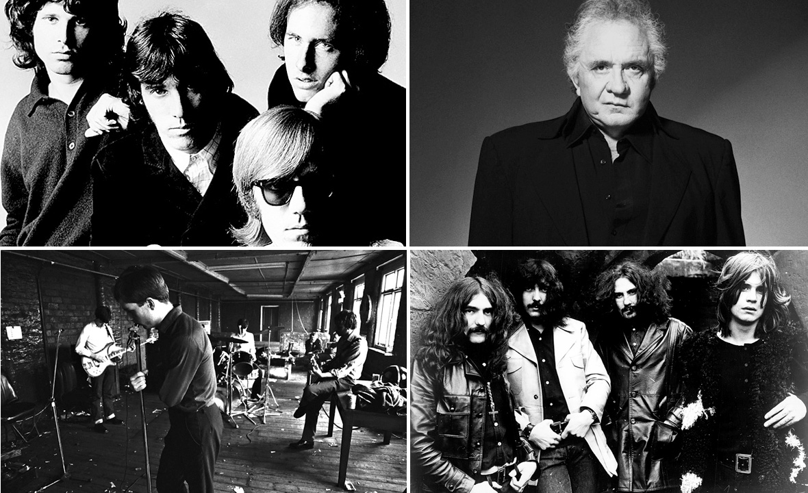 The Doors (gore lijevo), Johnny Cash (gore desno), Joy Division (dolje lijevo) i Black Sabbath (dolje desno)