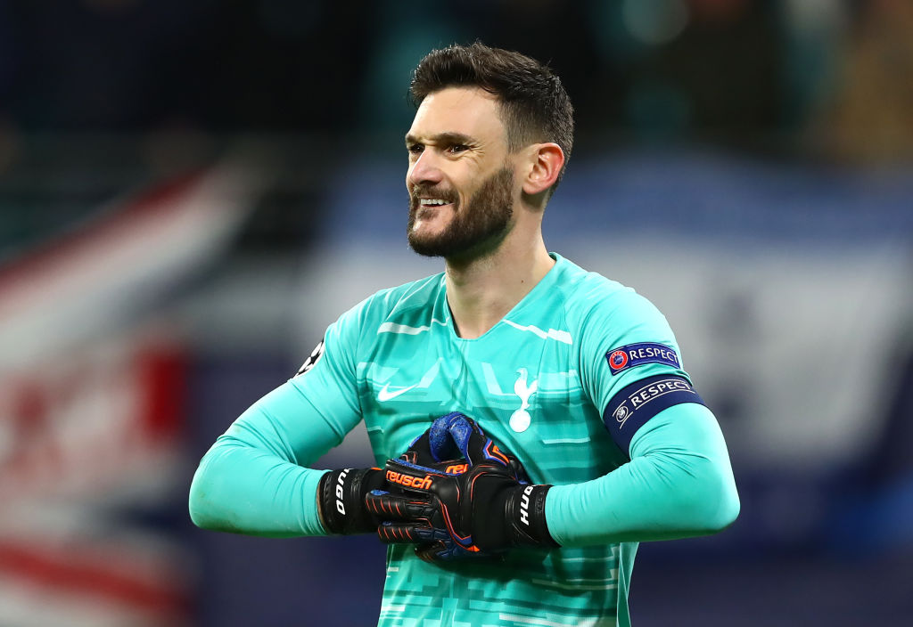 LEIPZIG, GERMANY - MARCH 10: Hugo Lloris of Tottenham Hotspur reacts during the UEFA Champions League round of 16 second leg match between RB Leipzig and Tottenham Hotspur at Red Bull Arena on March 10, 2020 in Leipzig, Germany. (Photo by Martin Rose/Bongarts/Getty Images)