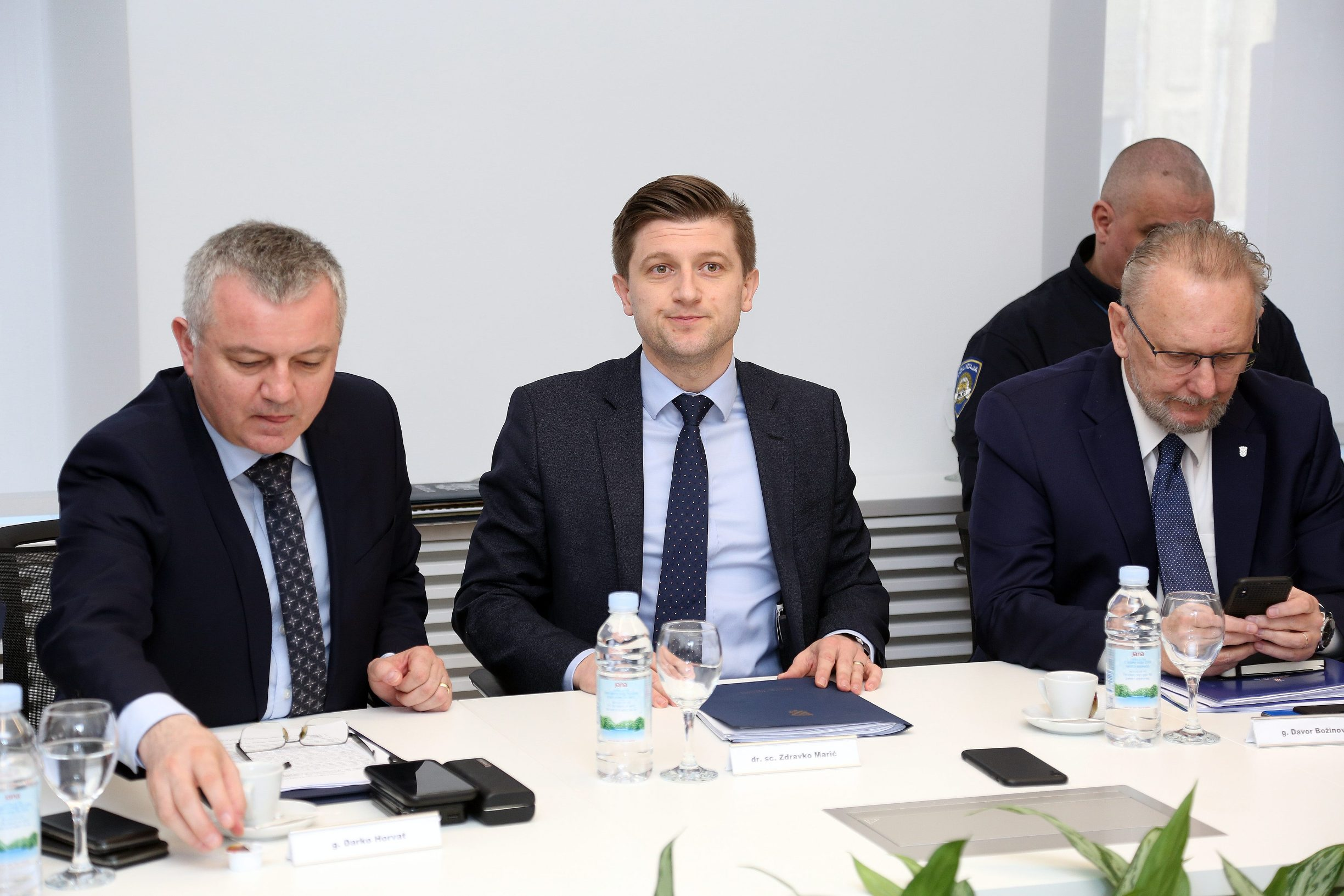 Minister Zdravko Maric meets with employers about measures taken by the Government over the effects of the coronavirus on the economy. On the photo: Economy Minister Darko Horvat, Finance Minister Zdravko Maric, Interior Minister Davor Bozinovic
