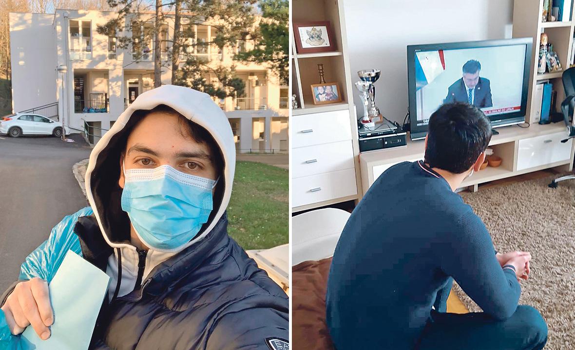 Lijevo: prvi selfie nakon izlaska. U pozadini je zgrada u kojoj je mladić na 2. katu, u sobi br. 4, bio u karanteni. Desno: prva fotografija kod kuće