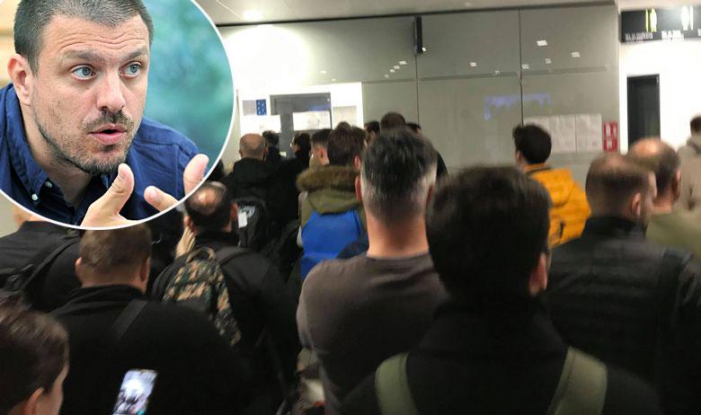 Mate Janković (u krugu) i gužva u zagrebačkoj zračnoj luci snimljena danas poslijepodne