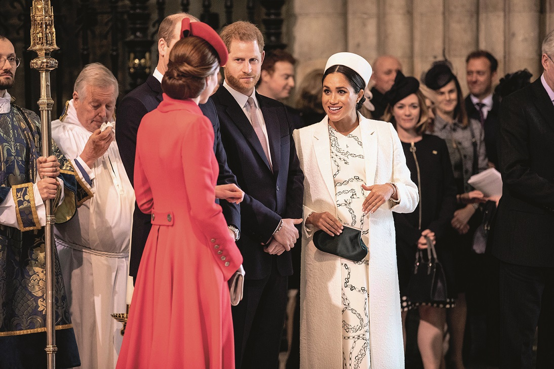 (L-R) Britain's Catherine, Duchess of Cambridge (L), talks with Britain's Meghan, Duchess of Sussex (R) as Britain's Prince William, Duke of Cambridge, and Britain's Prince Harry, Duke of Sussex, stand by attending the Commonwealth Day service at Westminster Abbey in London on March 11, 2019. Britain's Queen Elizabeth II has been the Head of the Commonwealth throughout her reign. Organised by the Royal Commonwealth Society, the Service is the largest annual inter-faith gathering in the United Kingdom., Image: 418798355, License: Rights-managed, Restrictions: , Model Release: no, Credit line: Richard Pohle / AFP / Profimedia