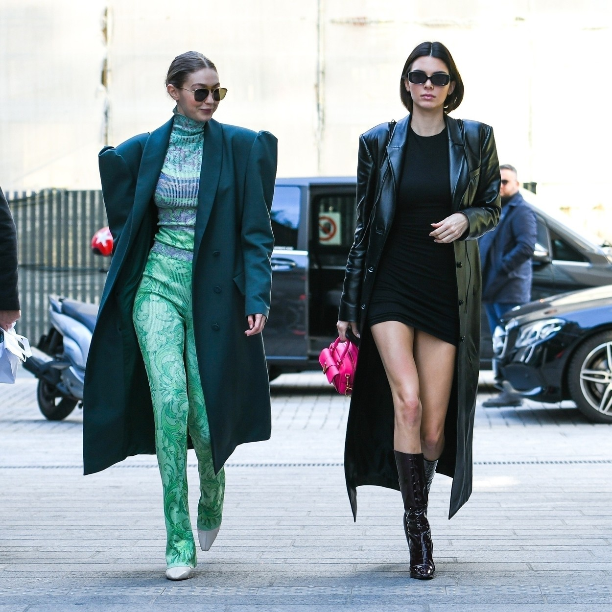 MILAN, ITALY  - The American Models Gigi Hadid and Kendall Jenner are seen arriving at Versace Fashion Show in Milan, Italy.  *UK Clients - Pictures Containing Children Please Pixelate Face Prior To Publication*, Image: 500120273, License: Rights-managed, Restrictions: RIGHTS: WORLDWIDE EXCEPT IN FRANCE, GERMANY, ITALY, SWITZERLAND, Model Release: no, Credit line: BACKGRID / Backgrid UK / Profimedia