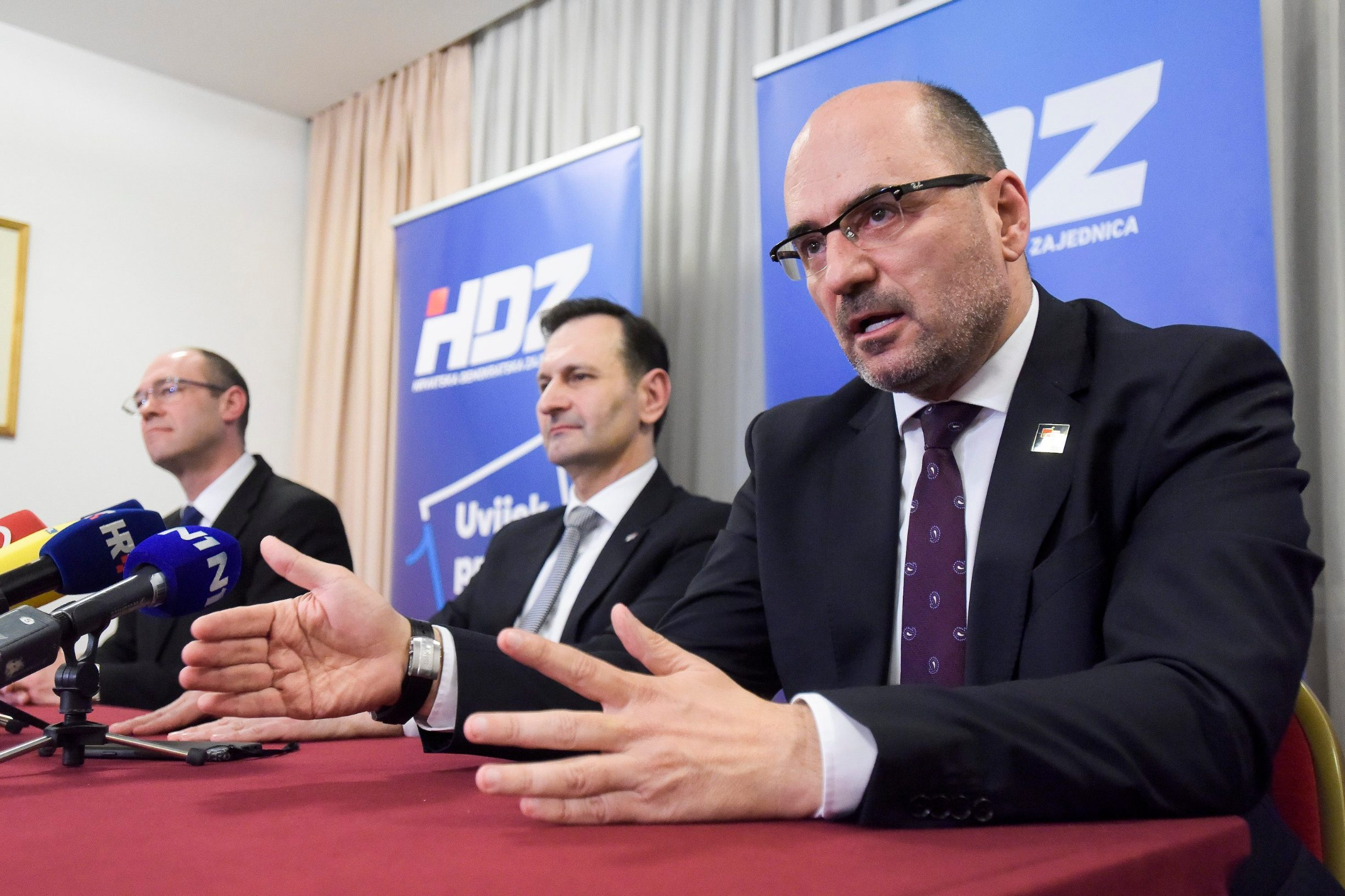 Members of the HDZ opposition; Davor Ivo Stier, Miro Kovač and Milian Brkić on a press conference after the official results have been announced