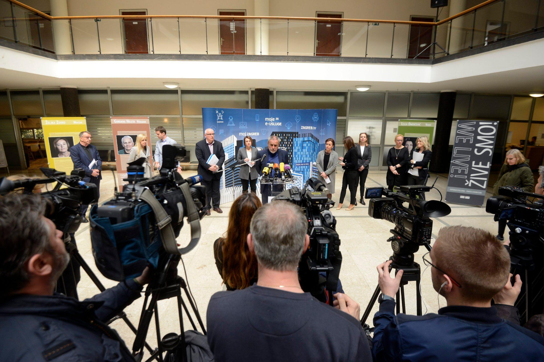 Zagreb, 180320 Gradska uprava, Trg Stjepana Radica, konferencija za medije zagrebackoga gradonacelnika Milana Bandica s temom Akti gradonacelnika. Foto: Bruno Konjevic / CROPIX