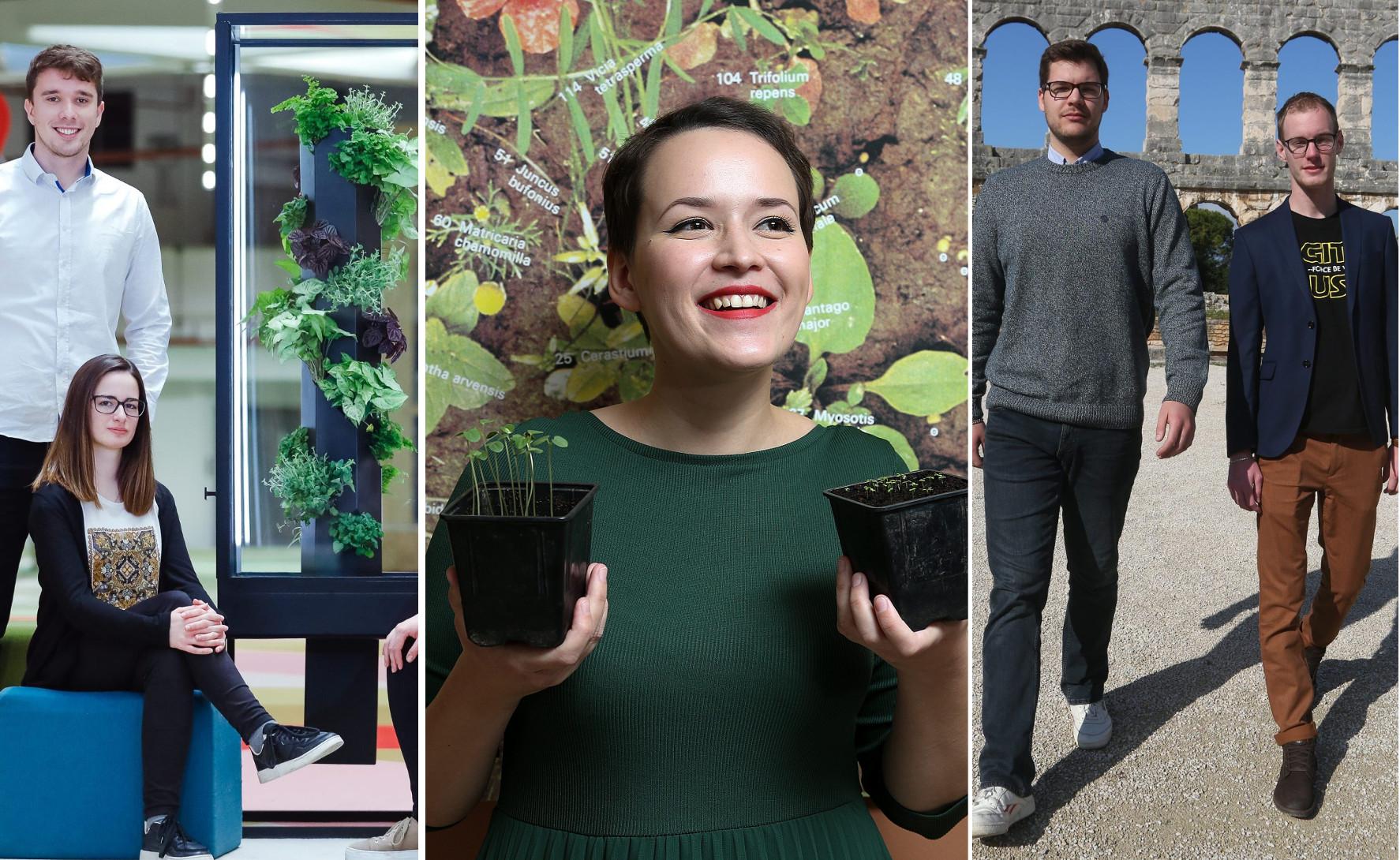 """Najbolji domaći inovatori i pobjednici prvog """"Student DIGI Awards"""" natjecanja: Urban Oasis, Filipa Burul, Potential BCI"""