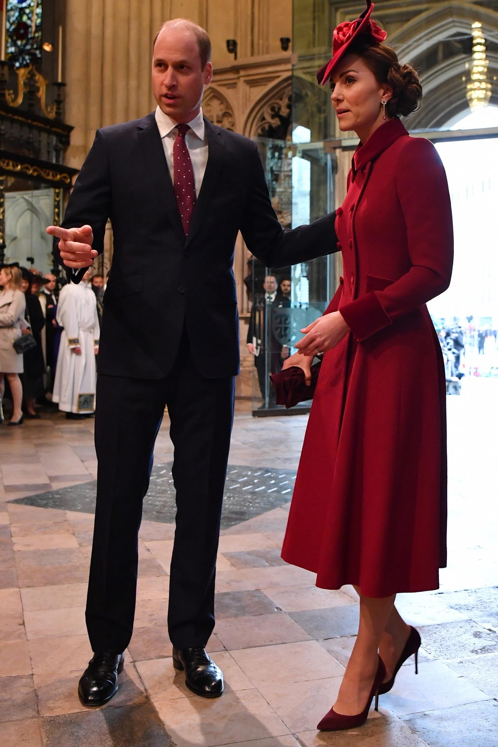 Princ William i Kate Middleton stižu na misu u Westminstersku opatiju 9. ožujka 2020. godine