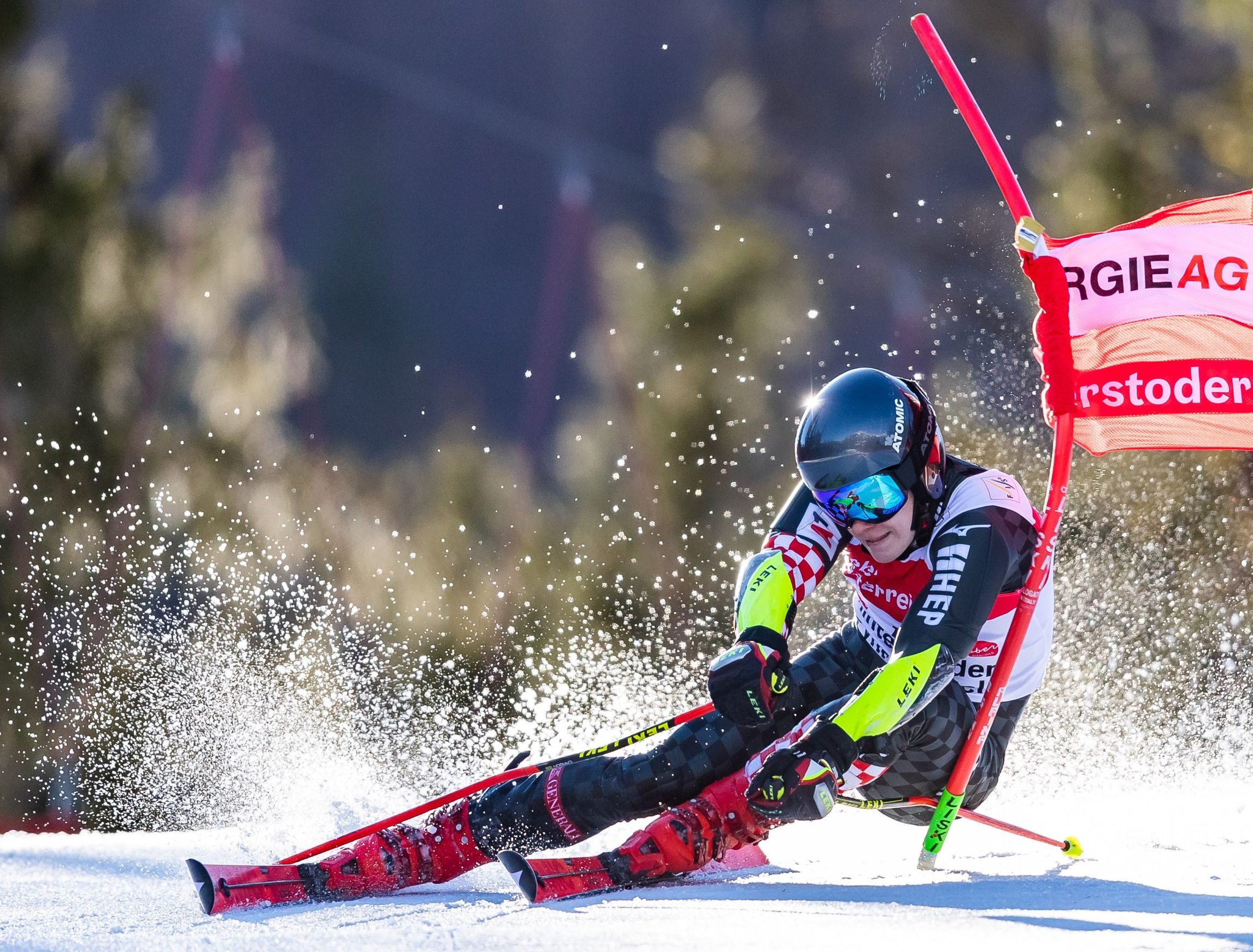 Filip Zubcic of Croatia competes during the first run of the men's giant slalom of the FIS Ski World Cup in Hinterstoder, Austria, on March 2, 2020. (Photo by Johann GRODER / various sources / AFP) / Austria OUT