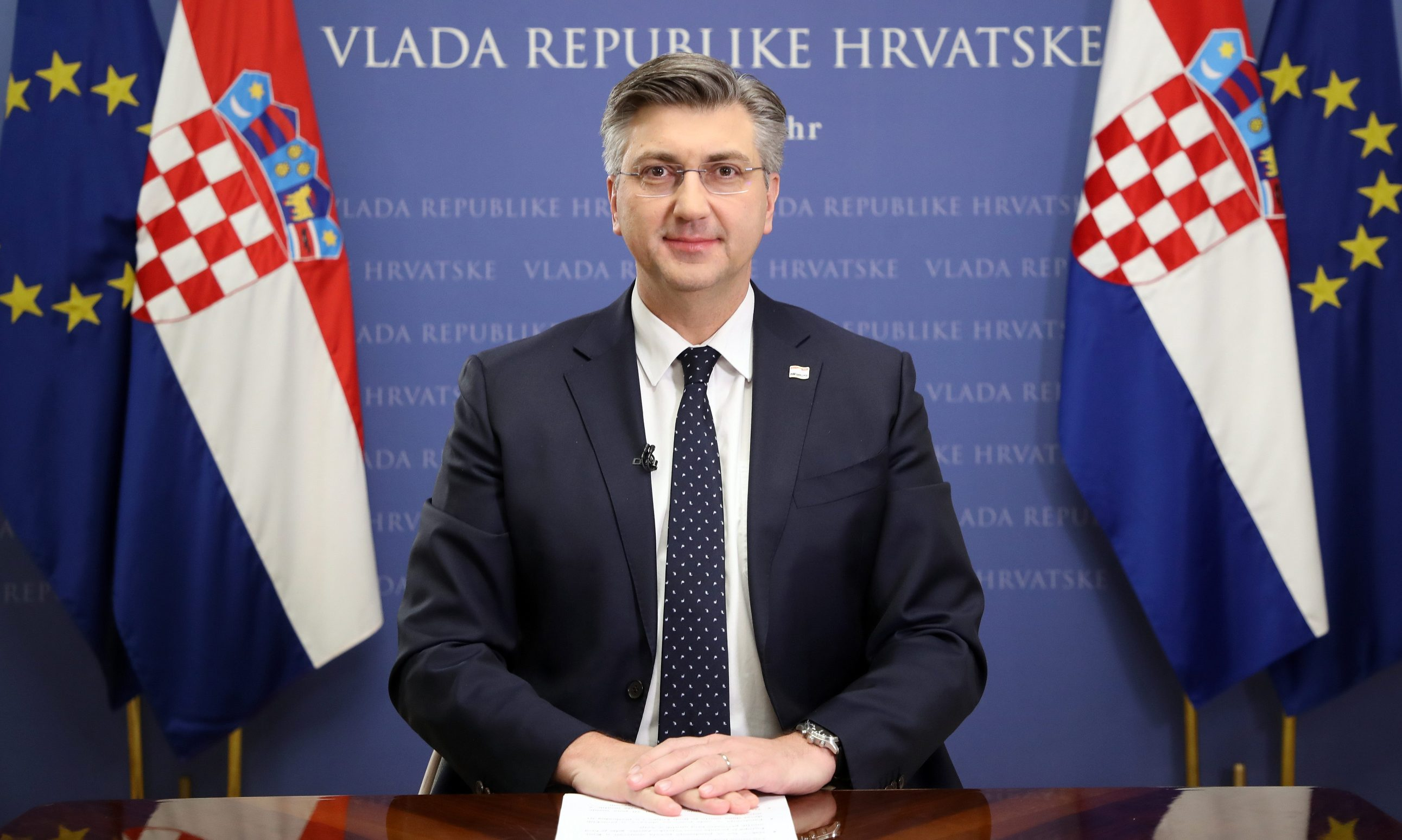 PM Andrej Plenkovic  giving his televised address