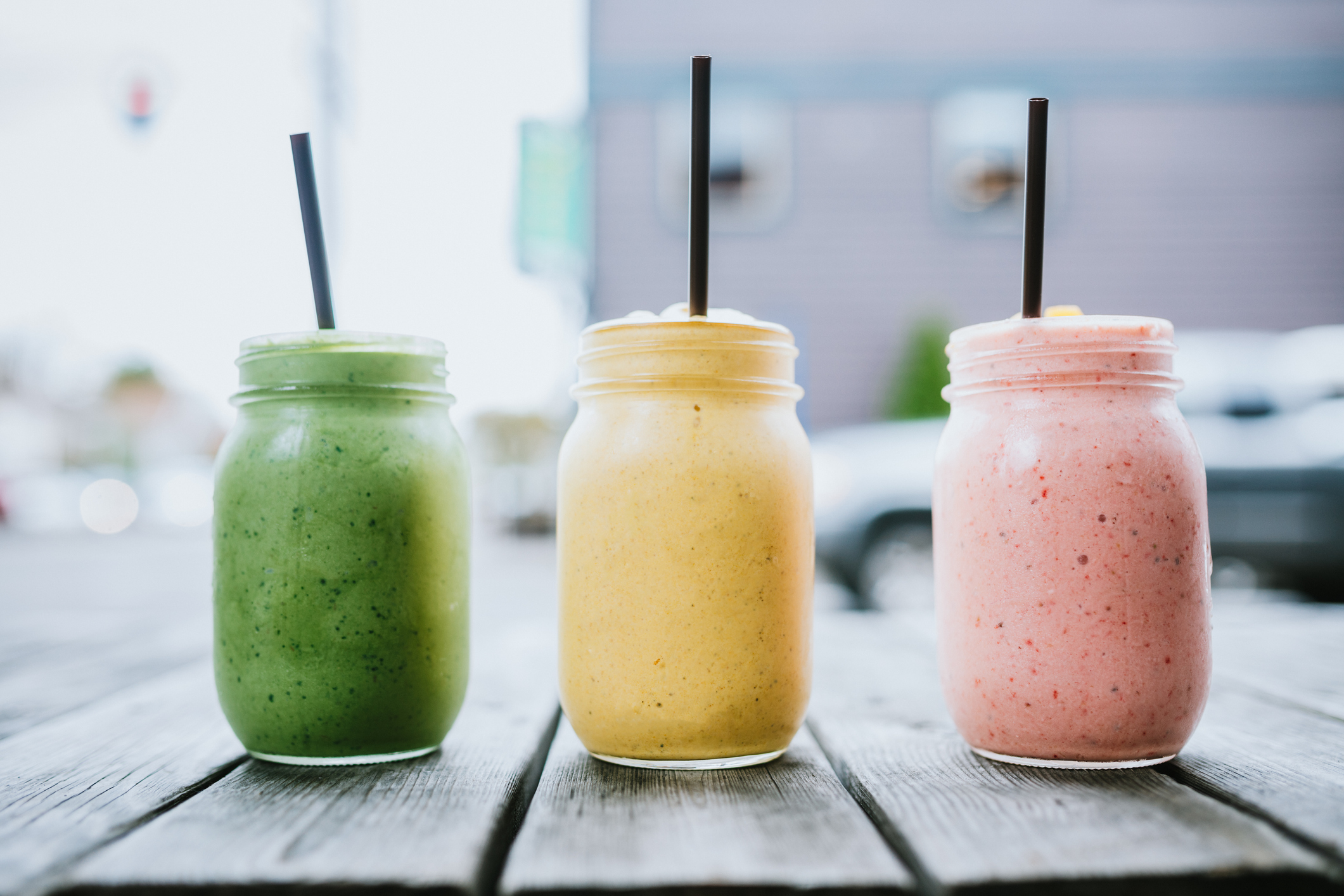 A cold blended fruit and veggie blended smoothie, to stay cool, refreshed, and healthy in the summer.