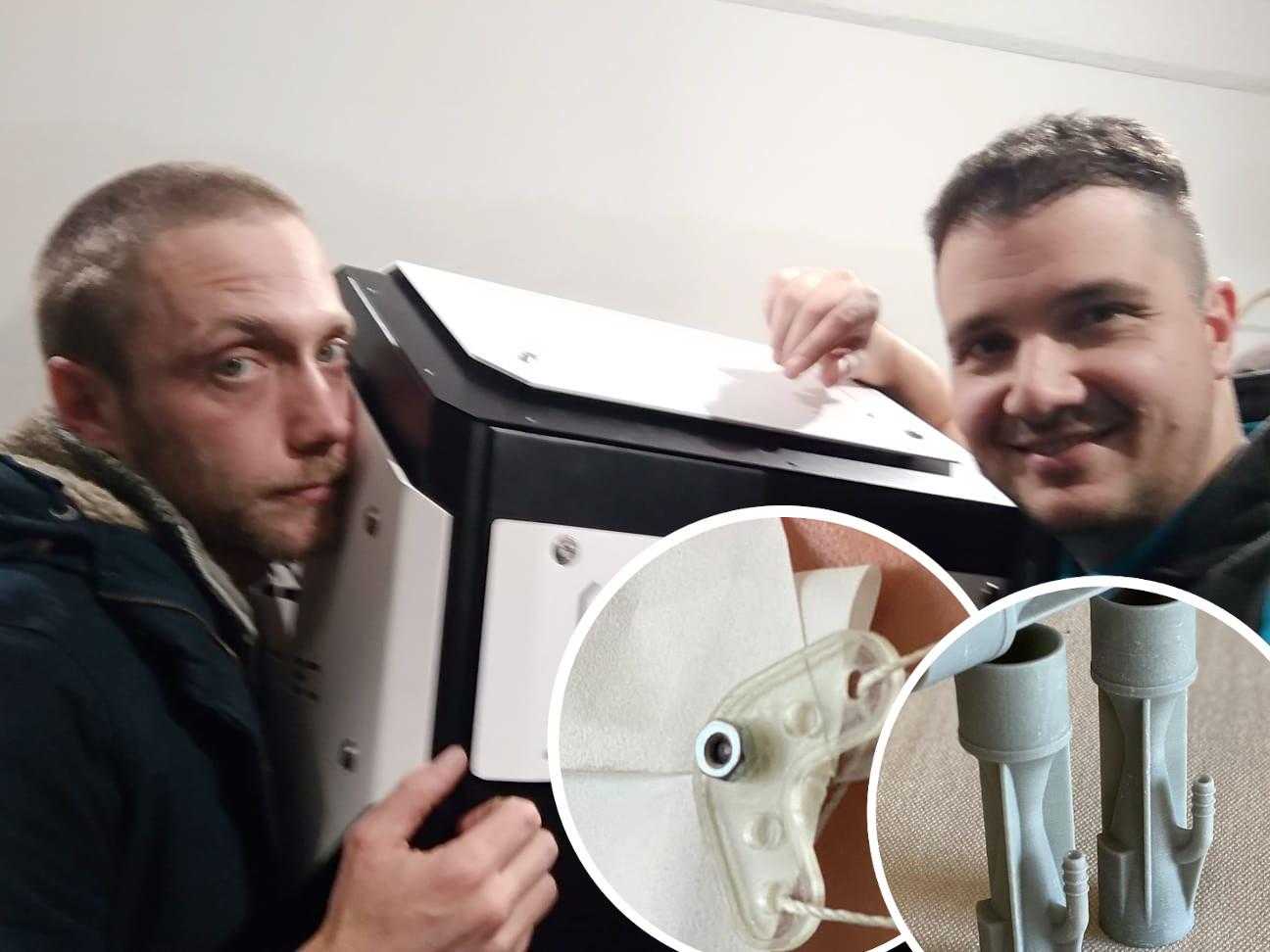 Luka Biondić i Ljubomir Lokin, kvačice za maske i cijevi za respirator u krugu