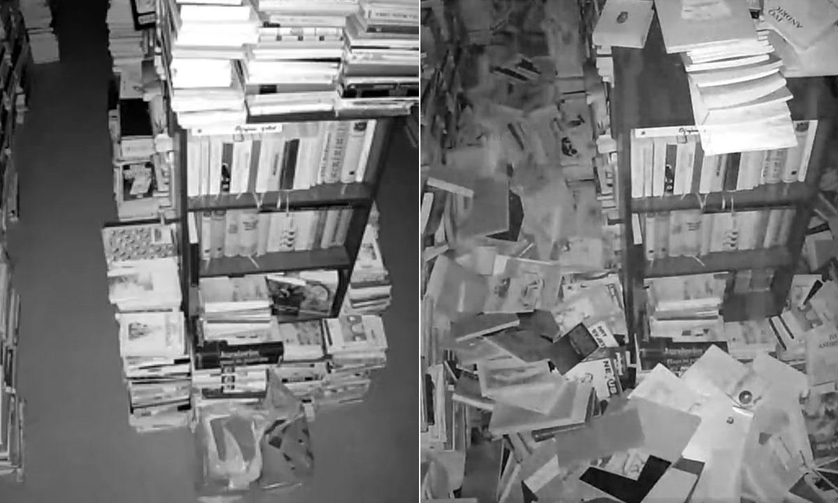 Jutarnji List Video Nadzorna Kamera U Zagrebackom Antikvarijatu Zabiljezila Najjaci Udar Potresa U Samo Nekoliko Sekundi Sve Je Bilo Pod Knjigama