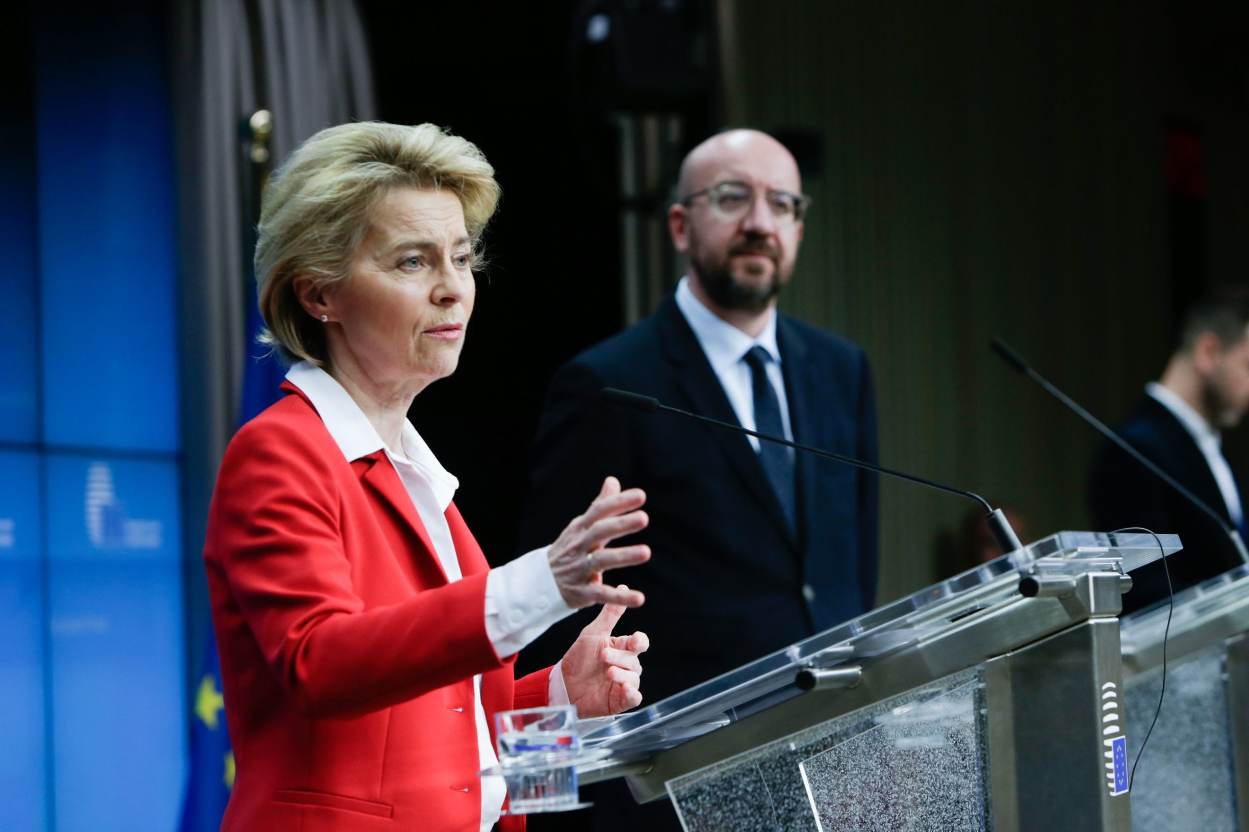 President of European Commission, Ursula Von der Leyen (L) and the President of the European Council, Charles Michel (R),