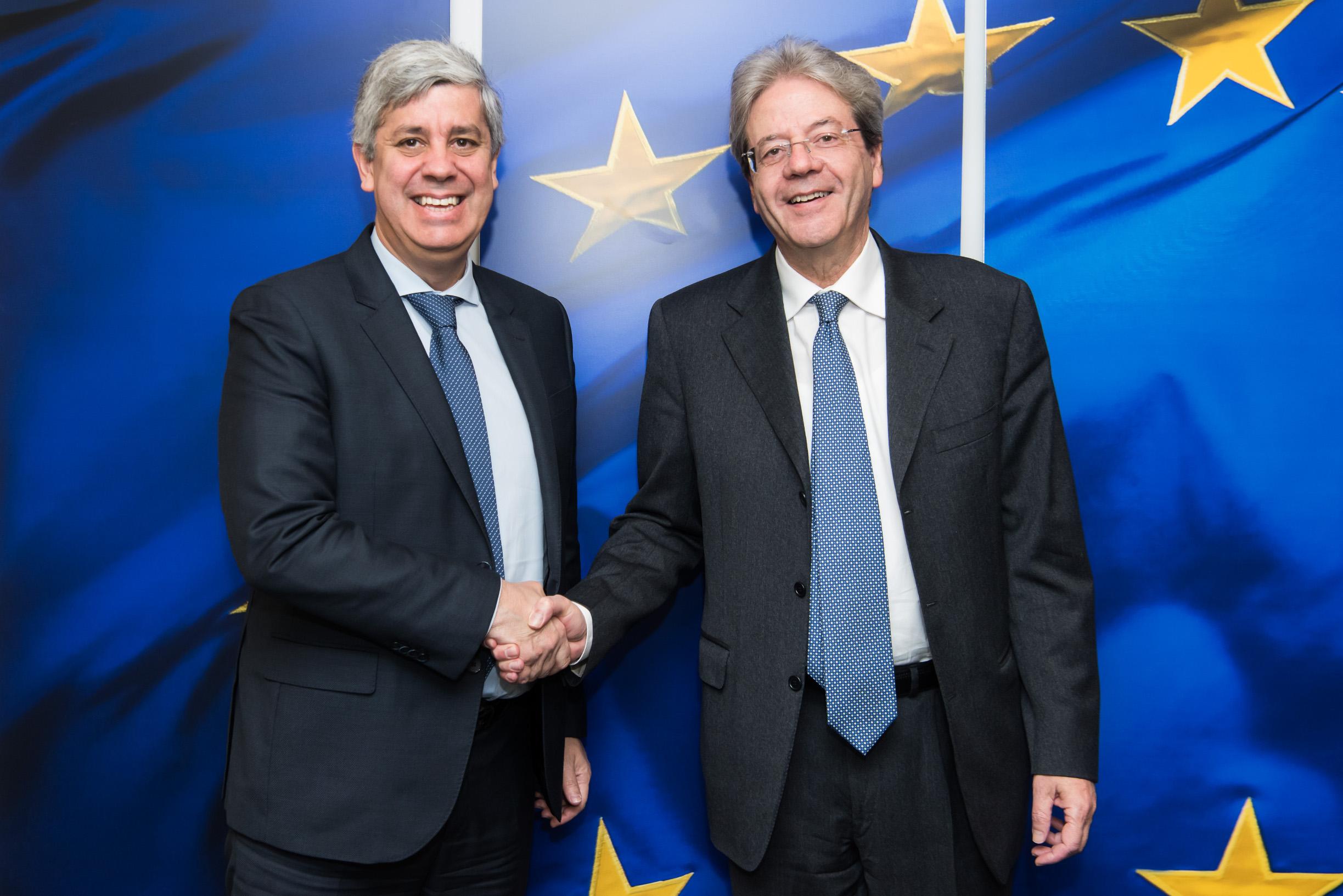 Mario Centeno, Eurogroup president and  Paolo Gentiloni, economy commissioner