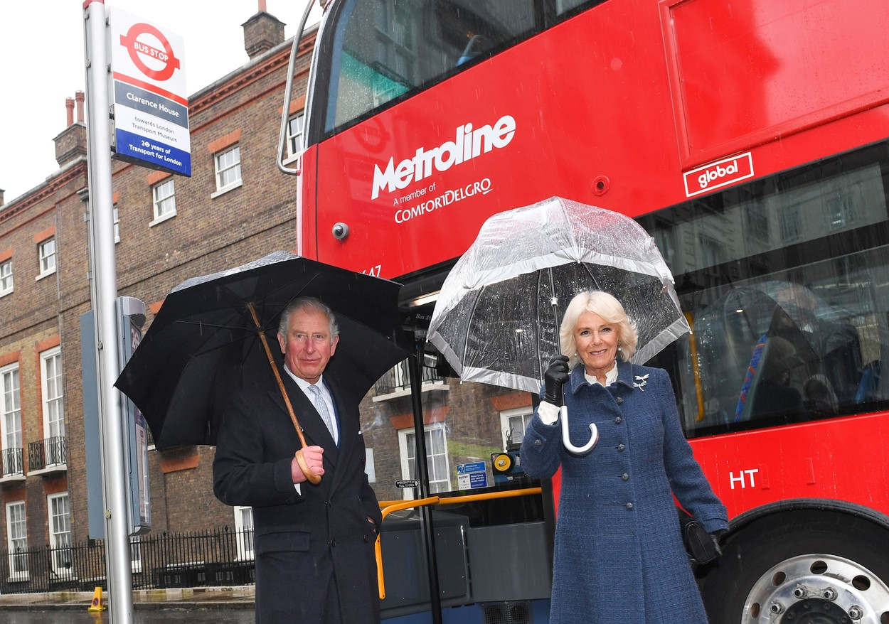 Prince Charles, Prince of Wales and Camilla, Duchess of Cornwall board a new electric double decker bus to the London Transport Museum to take part in celebrations to mark 20 years of Transport for London. Picture by  i-Images / Pool, Image: 503413024, License: Rights-managed, Restrictions: UK OUT.  End users shall not licence, sell, transmit, or otherwise distribute any photographs represented by eyevine, to any third party. Contact eyevine for more information: Tel: +44 (0) 20 8709 8709 Email: info@eyevine.com, Model Release: no, Credit line: i-Images / Eyevine / Profimedia