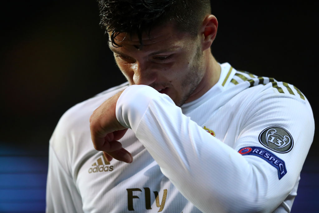 BRUGGE, BELGIUM - DECEMBER 11: Luka Jovic of Real Madrid looks dejected after being substituted during the UEFA Champions League group A match between Club Brugge KV and Real Madrid at Jan Breydel Stadium on December 11, 2019 in Brugge, Belgium. (Photo by Dean Mouhtaropoulos/Getty Images)