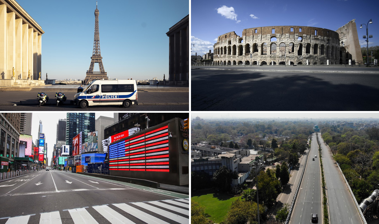 Pariz (gore lijevo), Rim (gore desno), New York (dolje lijevo), New Delhi (dolje desno)