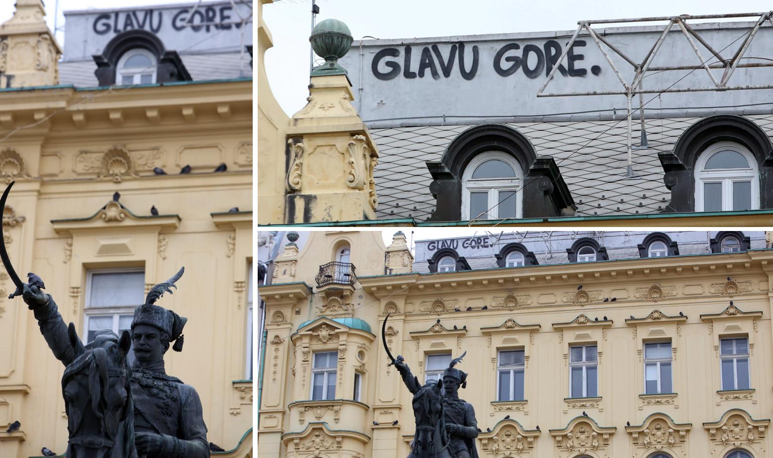 "Grafit s porukom ""Glavu gore"" na glavnom zagrebačkom trgu"