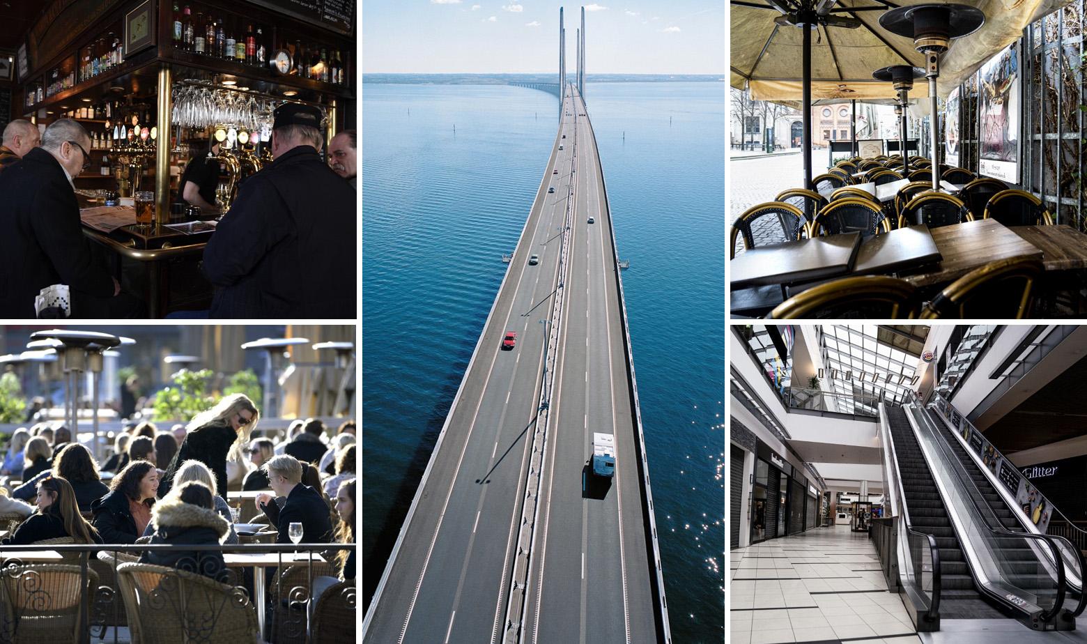 Lijevo prizori iz Švedske, u sredini Oresundski most, desno prizori iz Danske