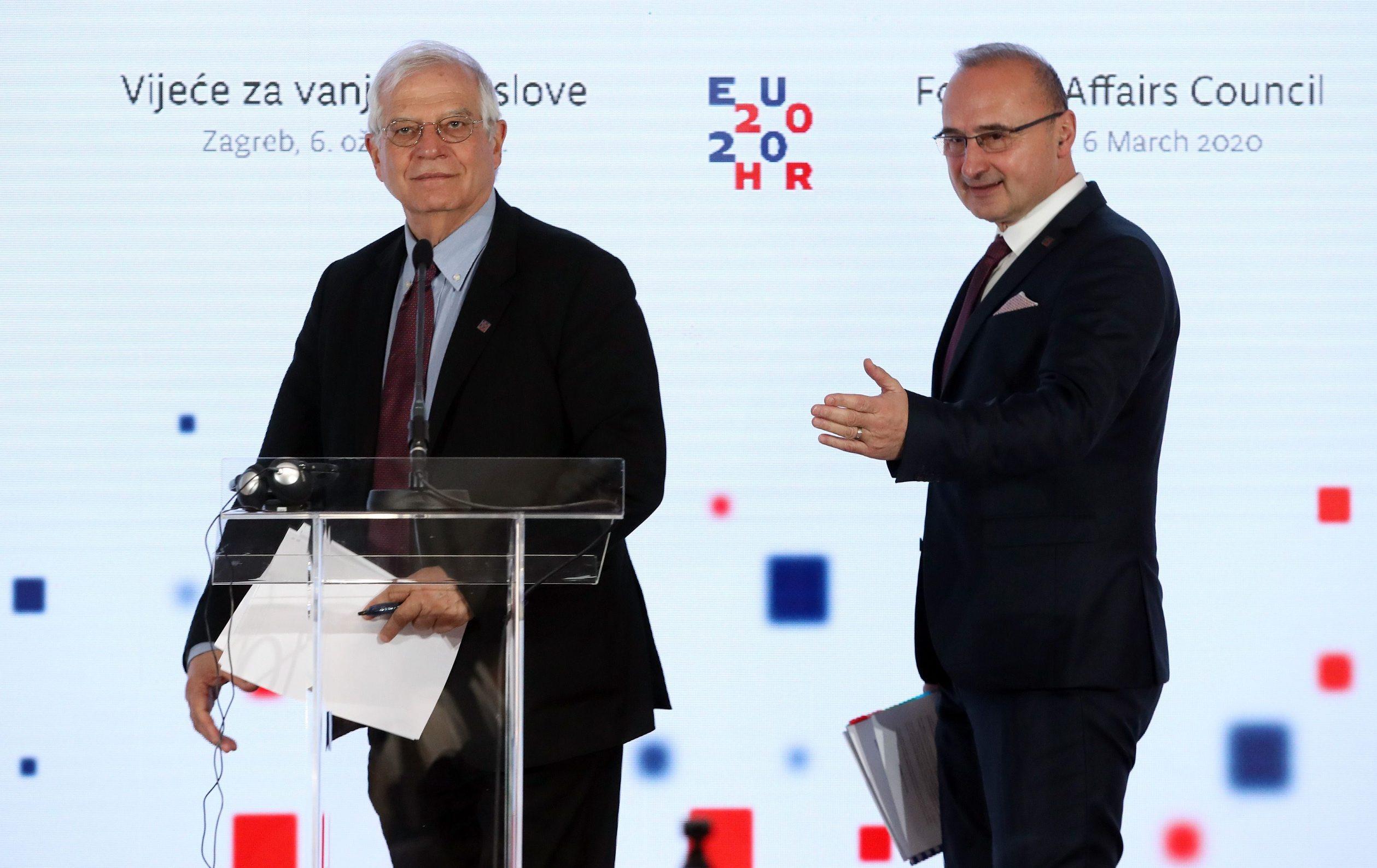 High Representative of the European Union Josep Borrell Fontelles (L) and Croatian Foreign Minister Gordan Grlić Radman