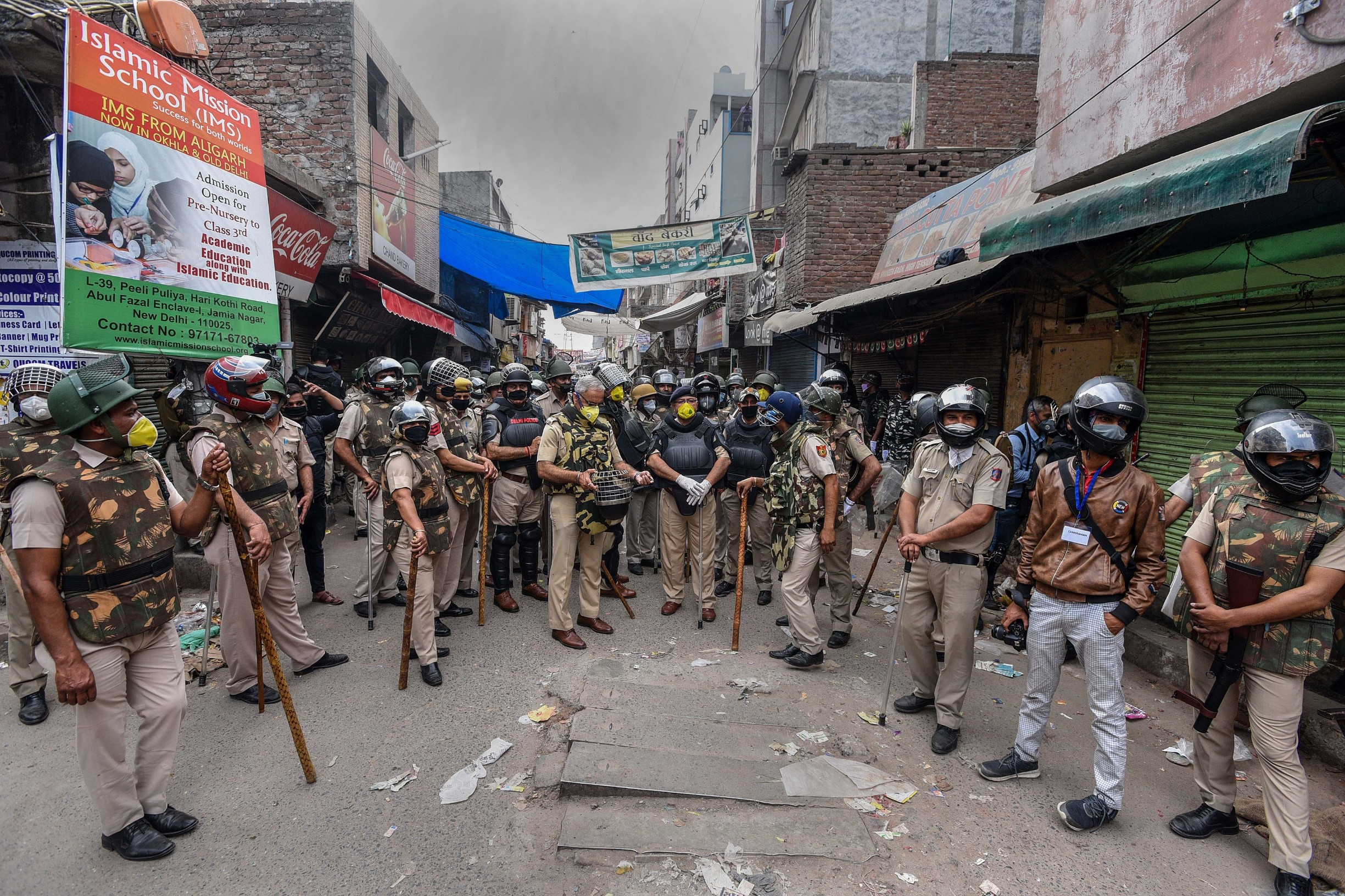 NEW DELHI, INDIA - MARCH 24: Heavy police deployment in the vicinity during the clearing of the site of an indefinnite sit-in protest, at Shaheen Bagh on March 24, 2020 in New Delhi, India. The police cleared the anti CAA, NRC and NPR protest site amid a prevailing lockdown in the national capital in the wake of coronavirus., Image: 509207169, License: Rights-managed, Restrictions: *** World Rights ***, Model Release: no, Credit line: Hindustan Times / ddp USA / Profimedia