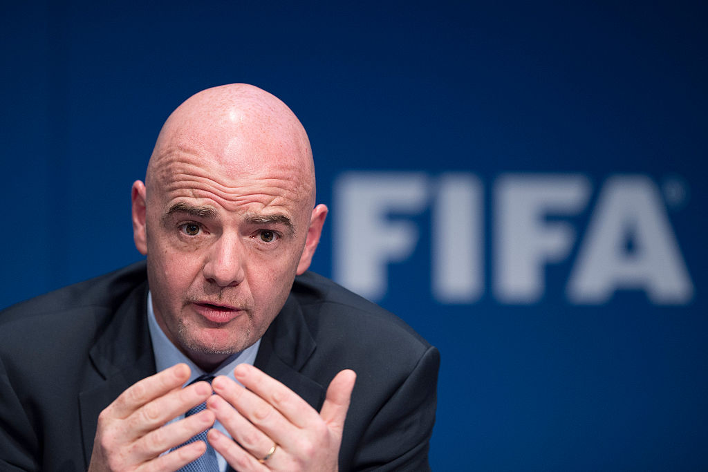 ZURICH, SWITZERLAND - MARCH 18: FIFA president Gianni Infantino speaks during a press conference after the  FIFA executive committee meeting at the FIFA headquarters on March 18, 2016 in Zurich, Switzerland. (Photo by Valeriano Di Domenico/Getty Images)