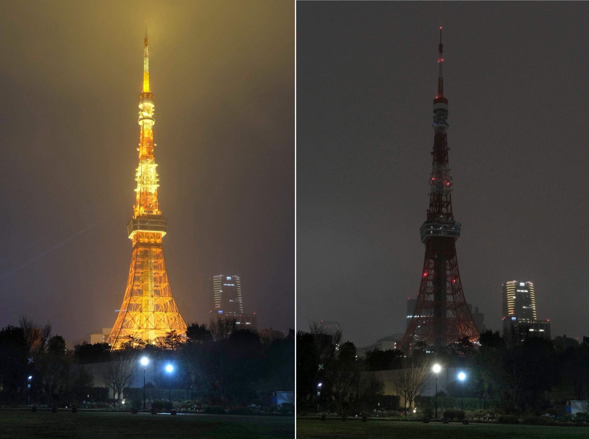 (COMBO) This combination of pictures shows the landmark Tokyo Tower illuminated (L) and with lights turned off (R) to mark the Earth Hour campaing in Tokyo on March 28, 2020. (Photo by Kazuhiro NOGI / AFP)