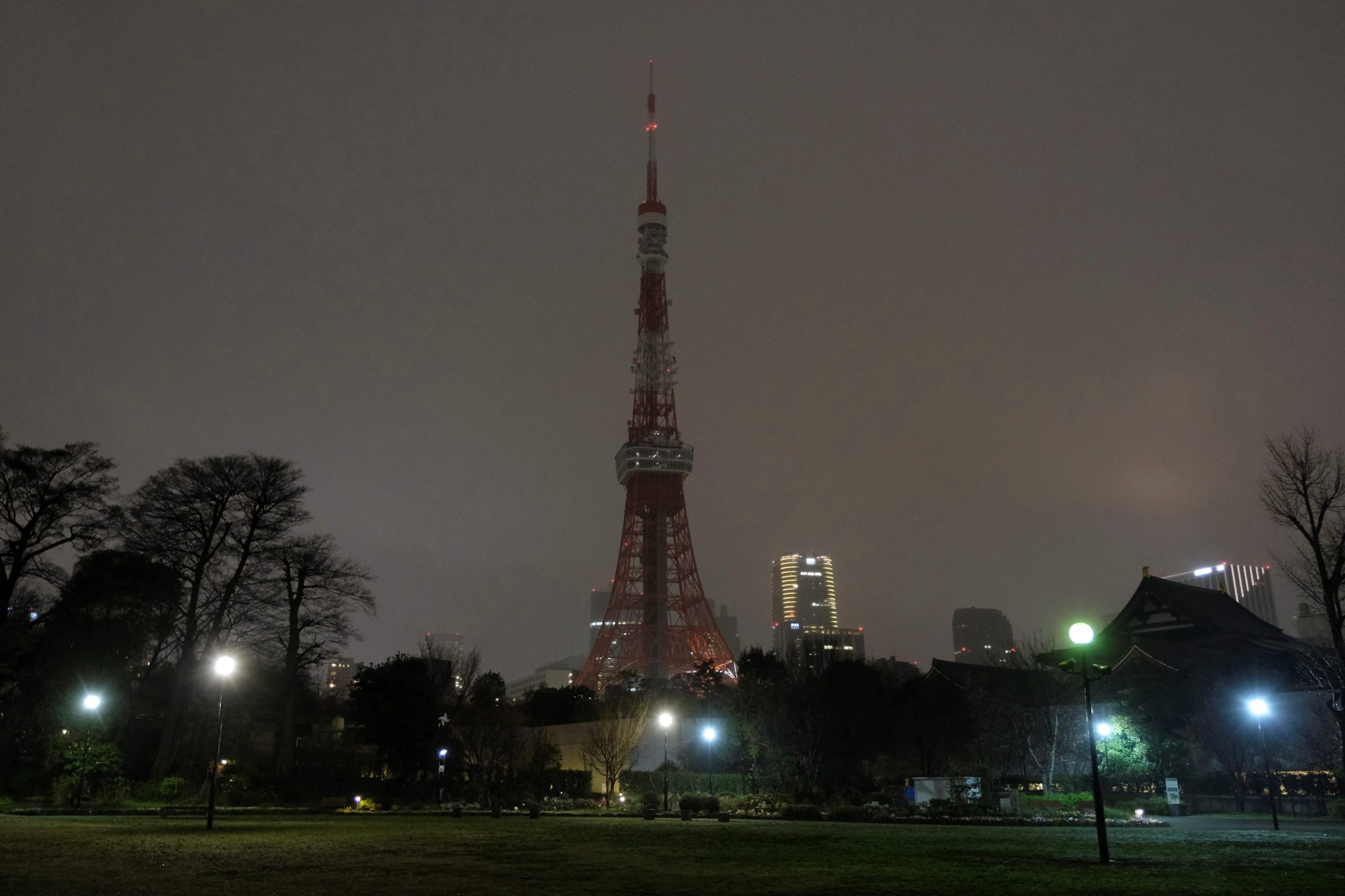 This picture shows the landmark Tokyo Tower with lights turned off to mark the Earth Hour campaing in Tokyo on March 28, 2020. (Photo by Kazuhiro NOGI / AFP)